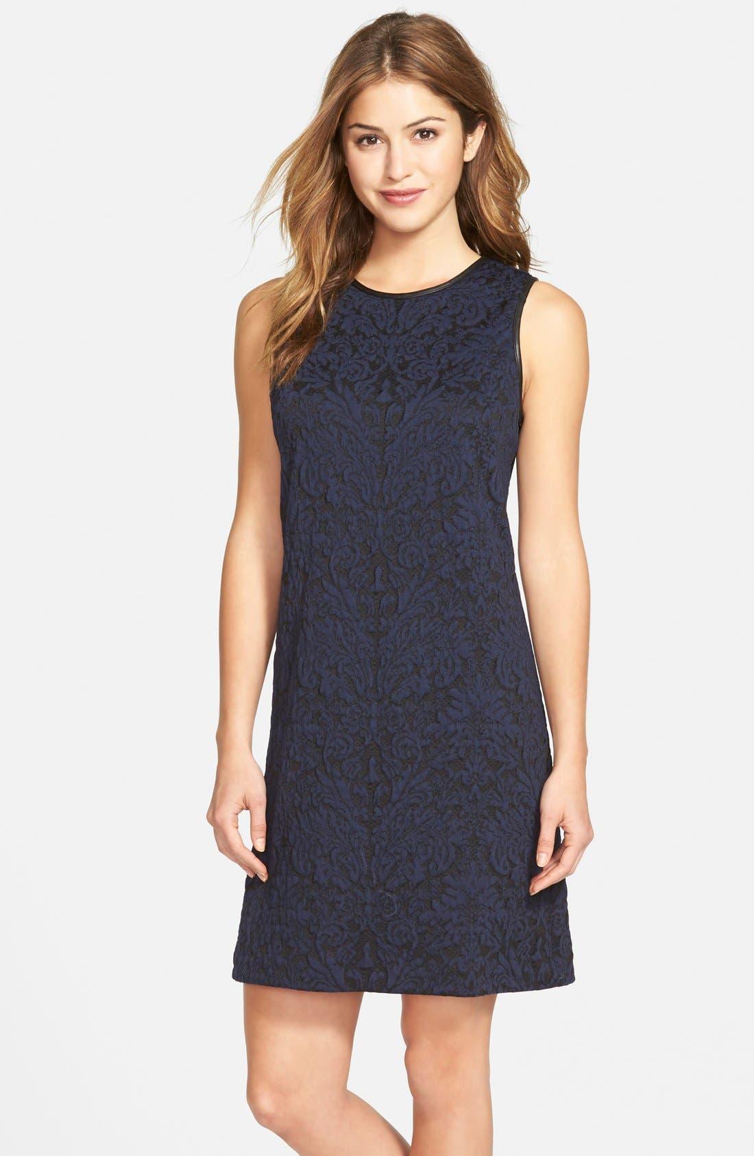 Main Image - Vince Camuto Cotton Blend Jacquard A-Line Dress