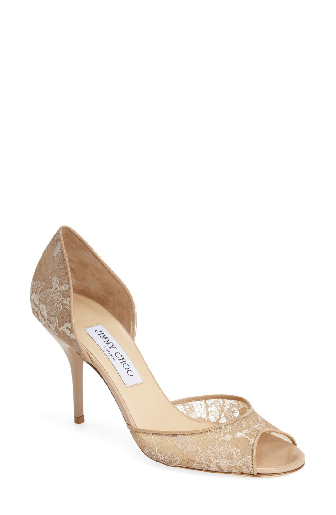 Main Image - Jimmy Choo 'Lien' Lace Open Toe d'Orsay Pump (Women)