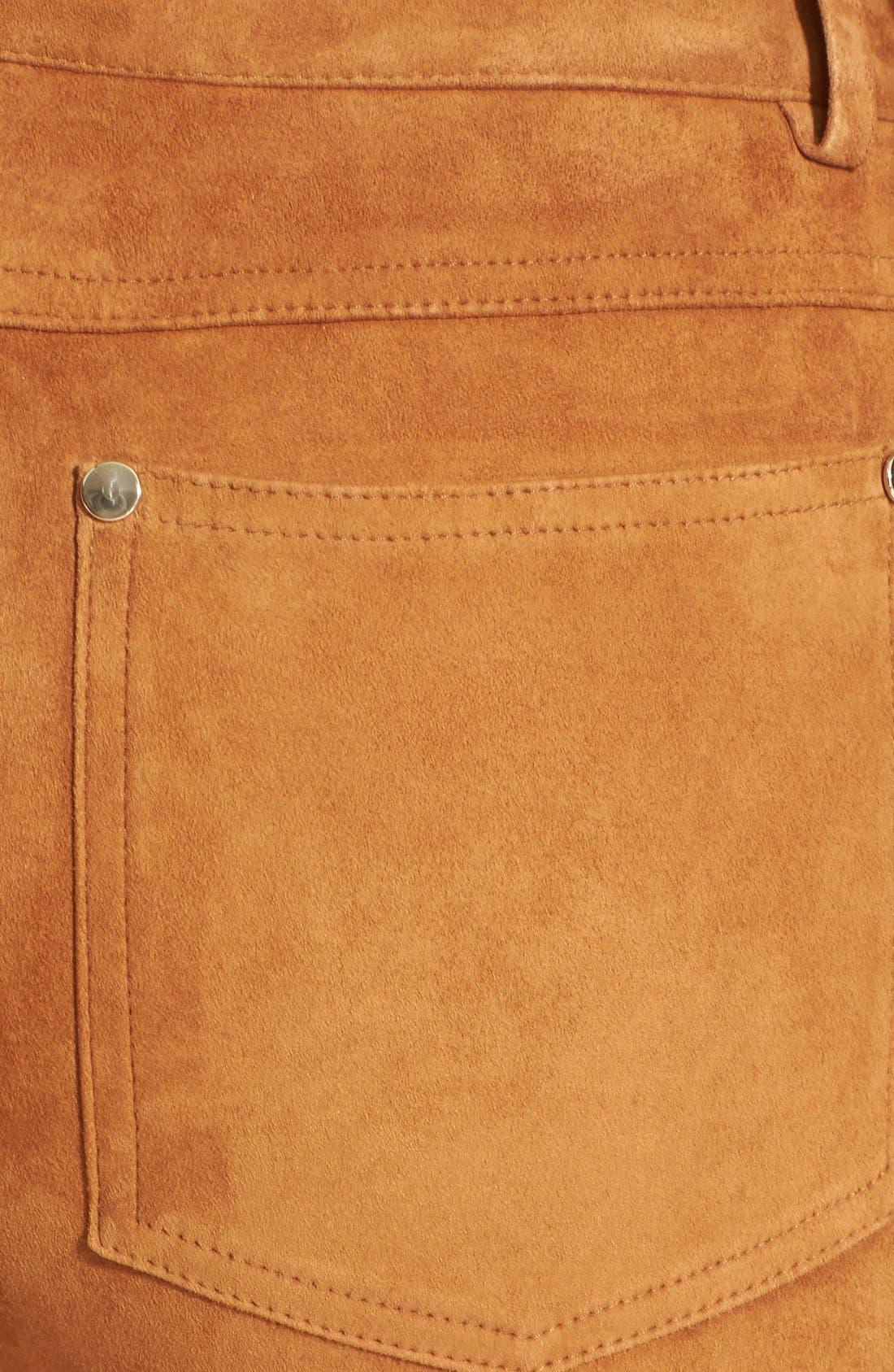 Alternate Image 3  - Alice + Olivia Suede Leather Pants