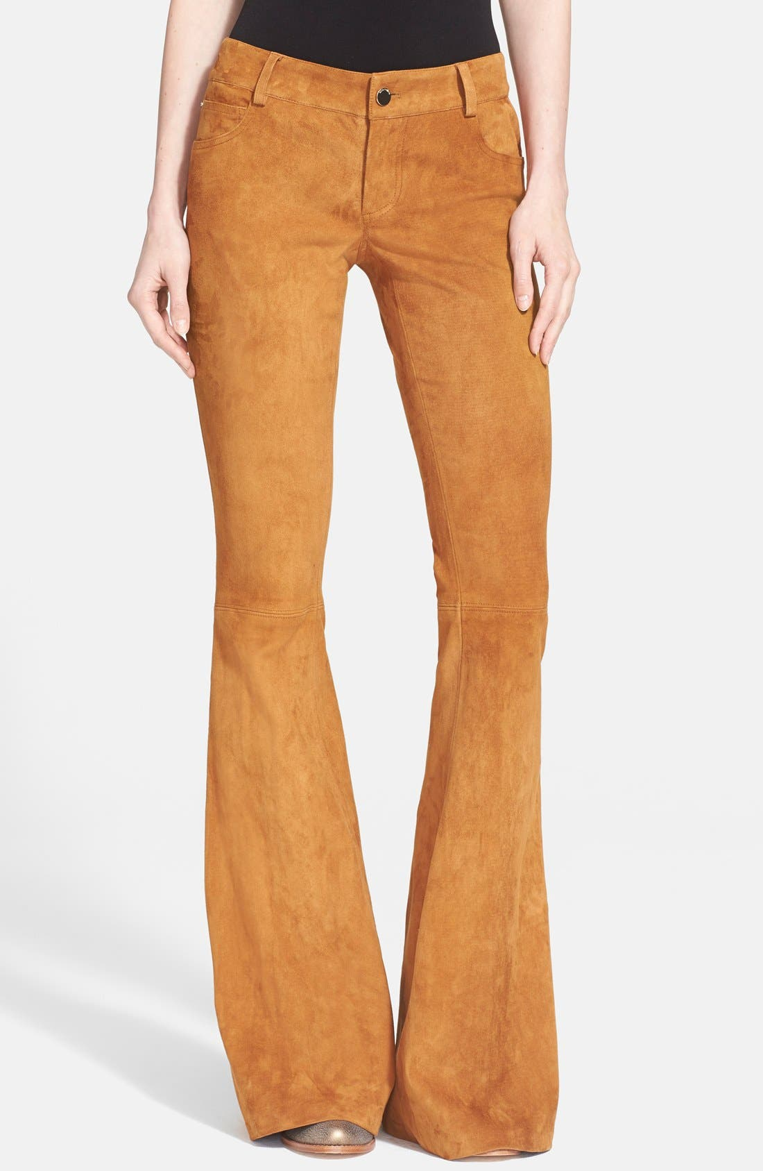 Alternate Image 1 Selected - Alice + Olivia Suede Leather Pants