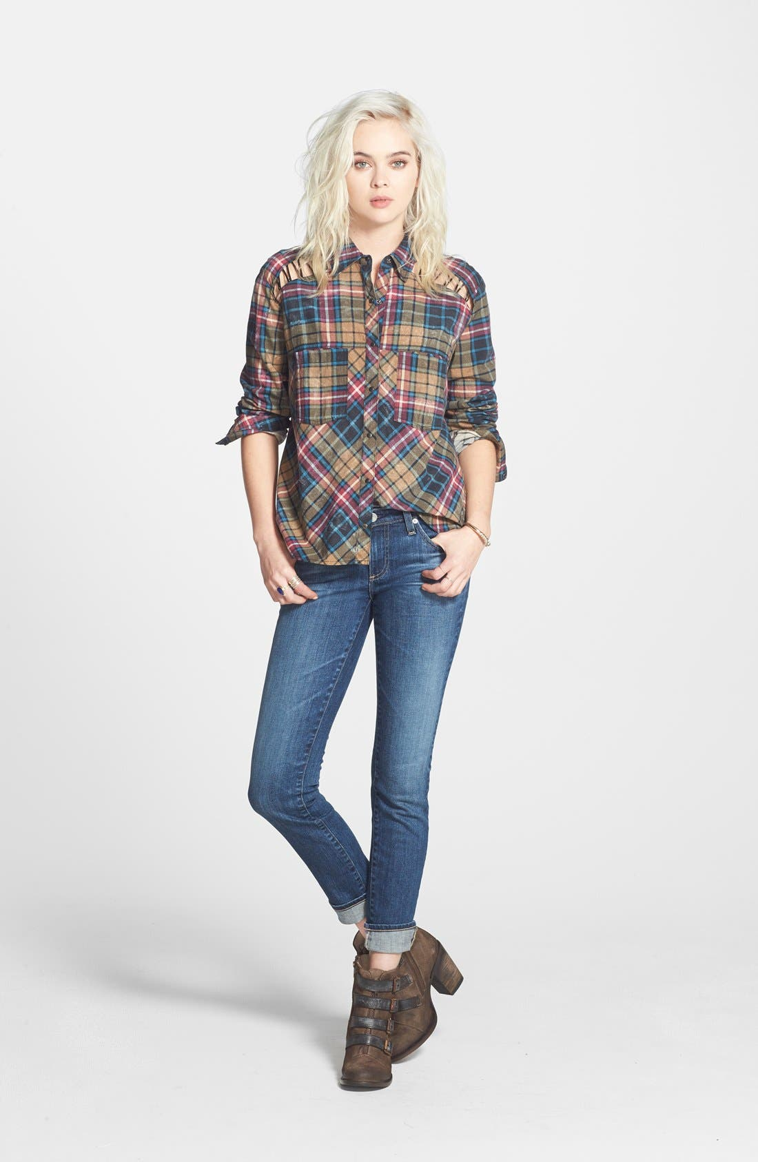 Alternate Image 5  - Free People Stitch Detail Plaid Shirt (Nordstrom Exclusive)