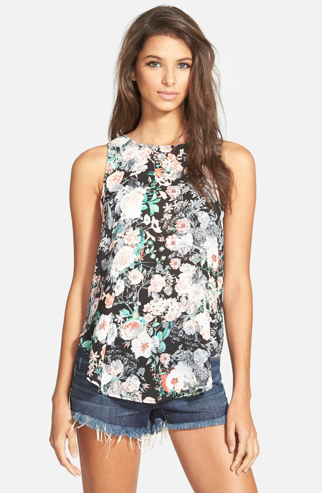 Alternate Image 1 Selected - Leith Floral Print Drape Back Tank