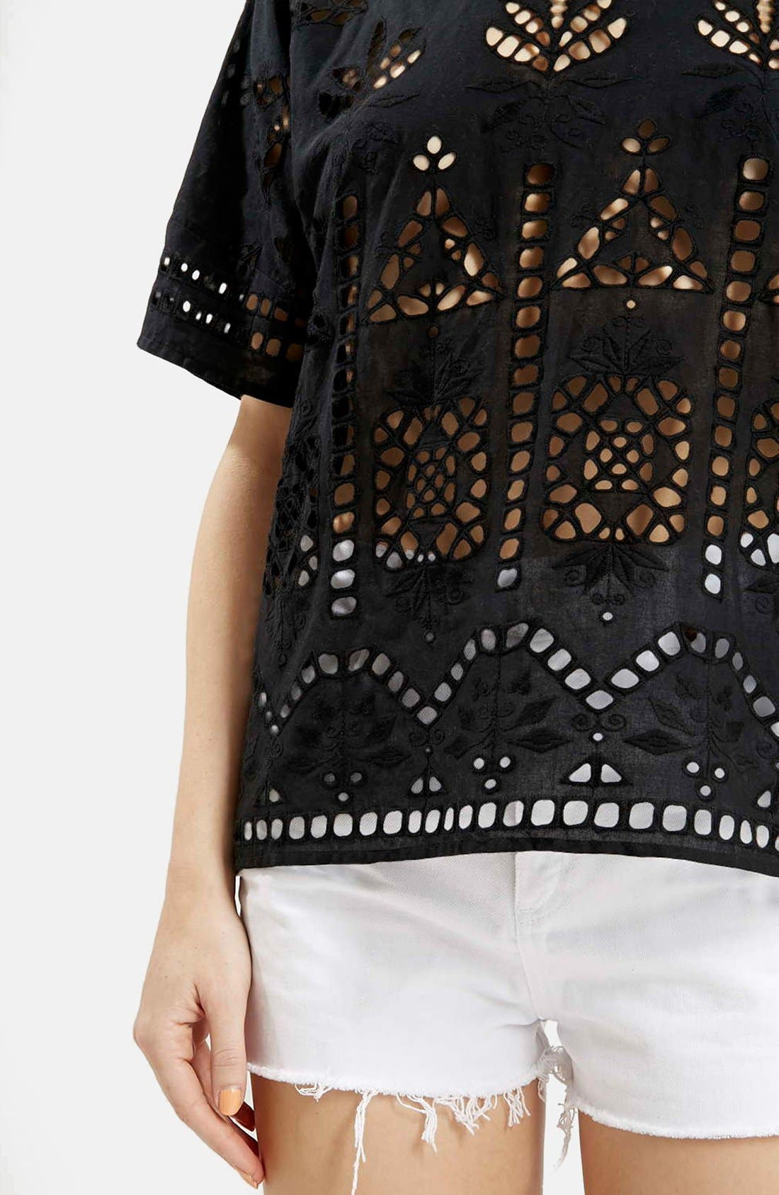 Alternate Image 4  - Topshop Embroidered Cutout Tee