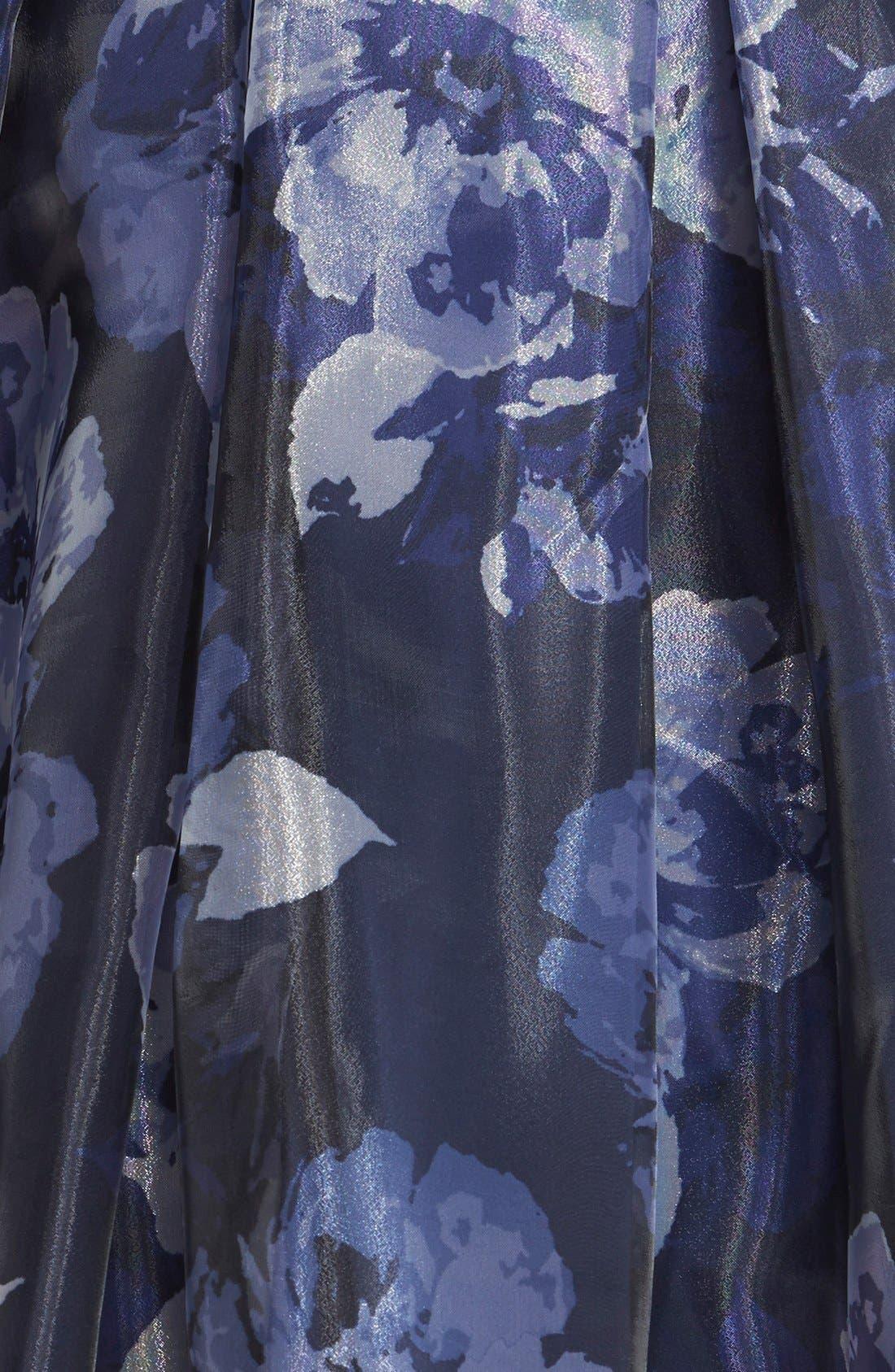 Alternate Image 4  - Eliza J Embellished Print Illusion Yoke Organza Fit & Flare Dress (Regular & Petite)