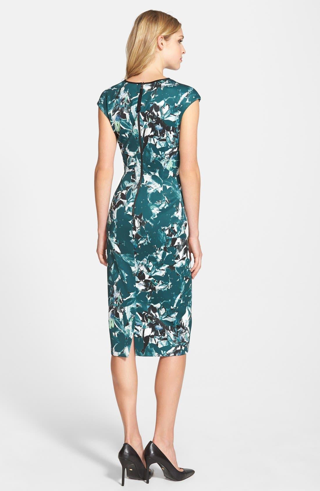 Alternate Image 3  - Maggy London 'Shadow Branch' Print Scuba Midi Dress (Regular & Petite)