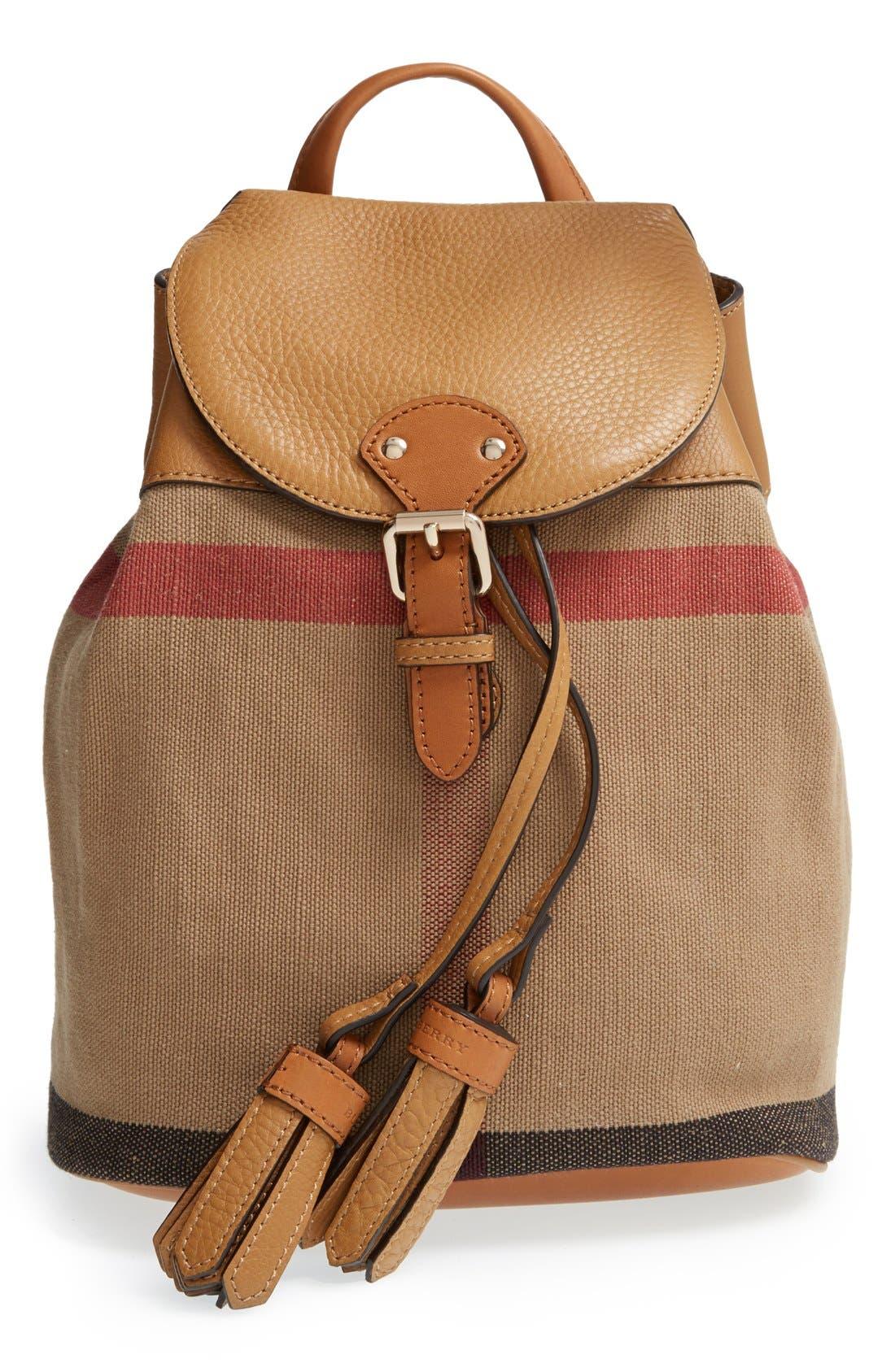 Main Image - Burberry Check Print & Leather Mini Backpack (Kids)