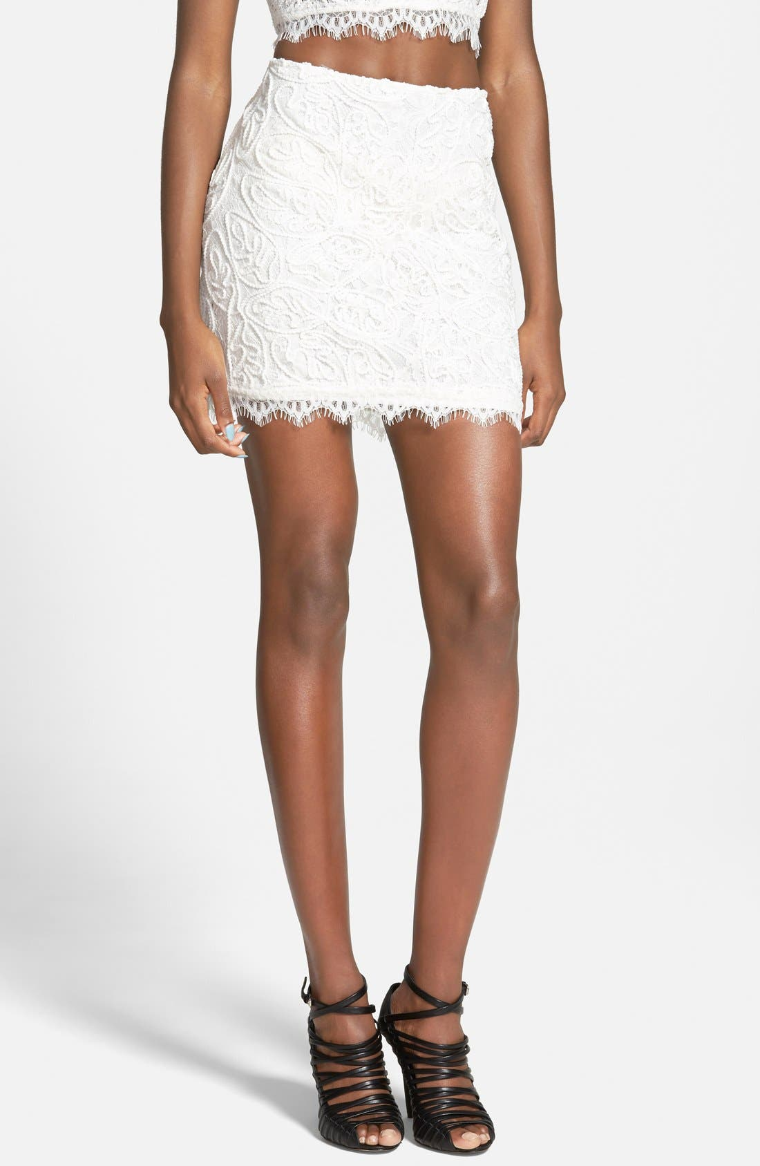Alternate Image 1 Selected - Leith Lace Miniskirt