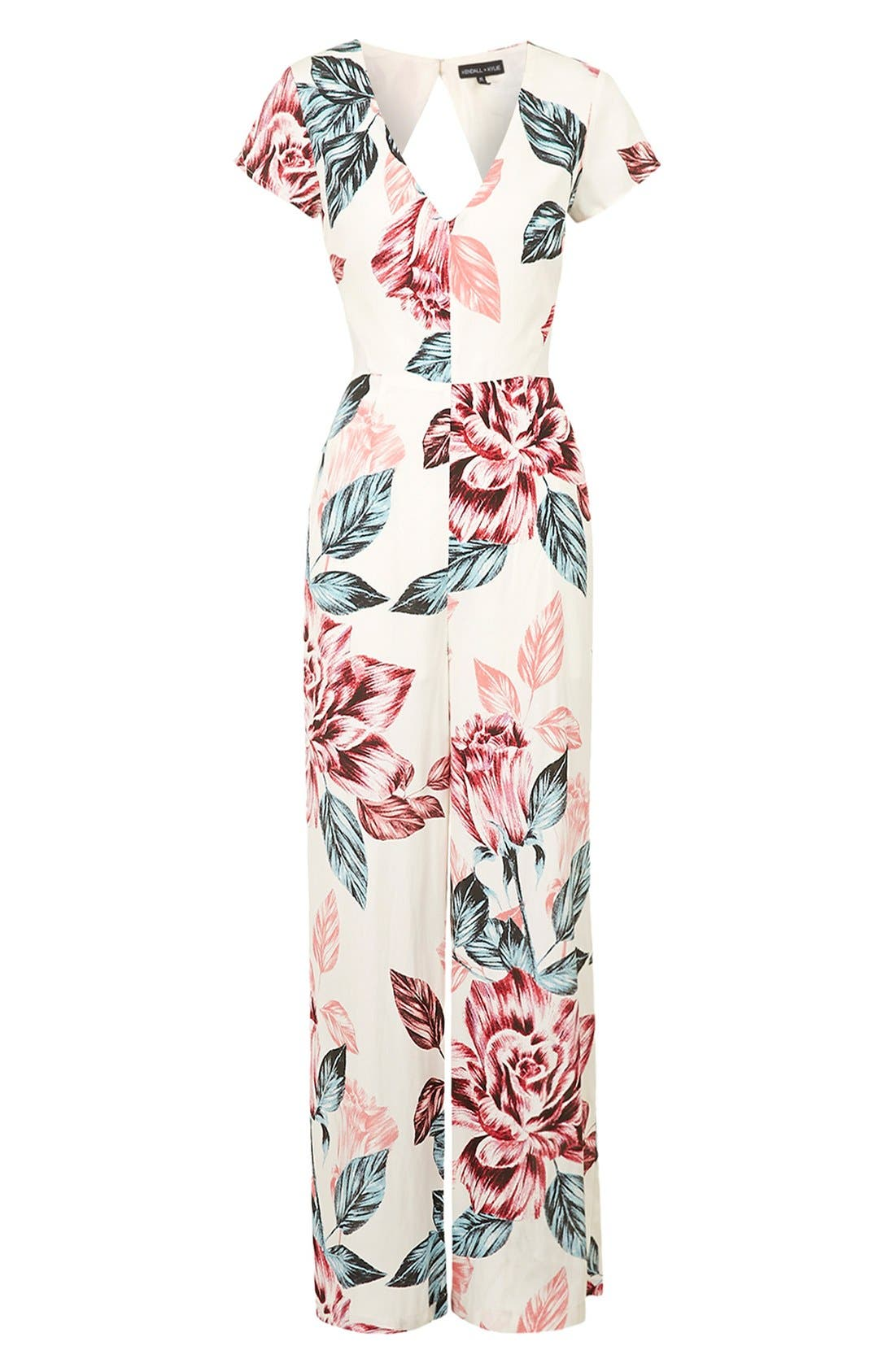 Alternate Image 3  - KENDALL + KYLIE at Topshop Floral Print Jumpsuit