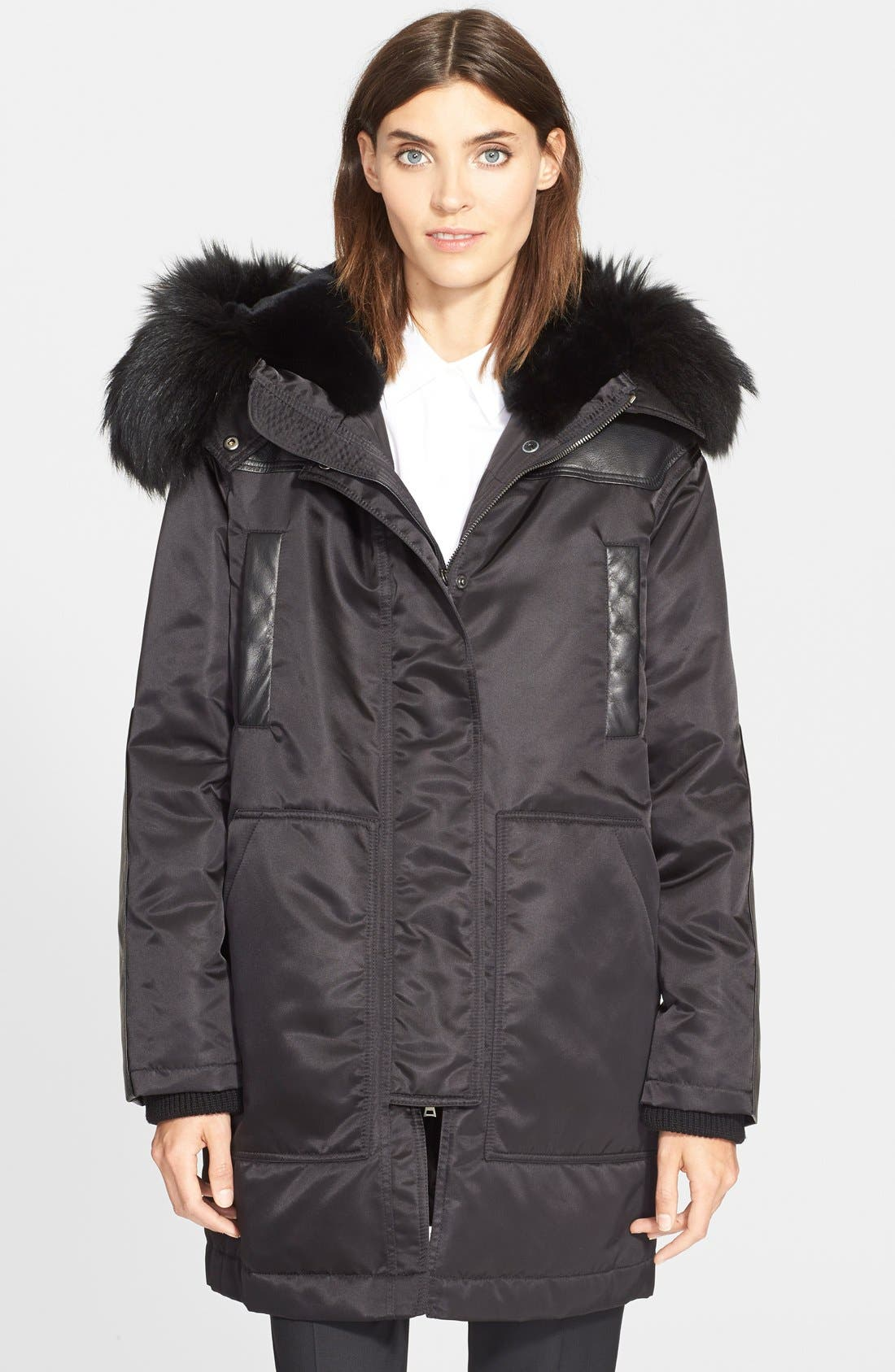 Main Image - Theory 'Fabunni' Parka with Leather and Genuine Coyote Fur Trim and Genuine Rabbit Fur Lining