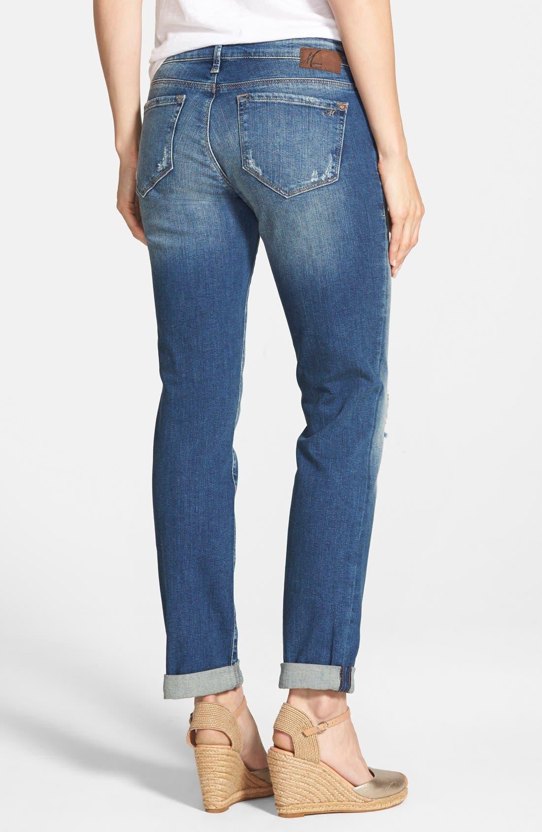 Alternate Image 2  - Mavi Jeans Emma Ripped Knee Boyfriend Slim Jeans (Vintage)