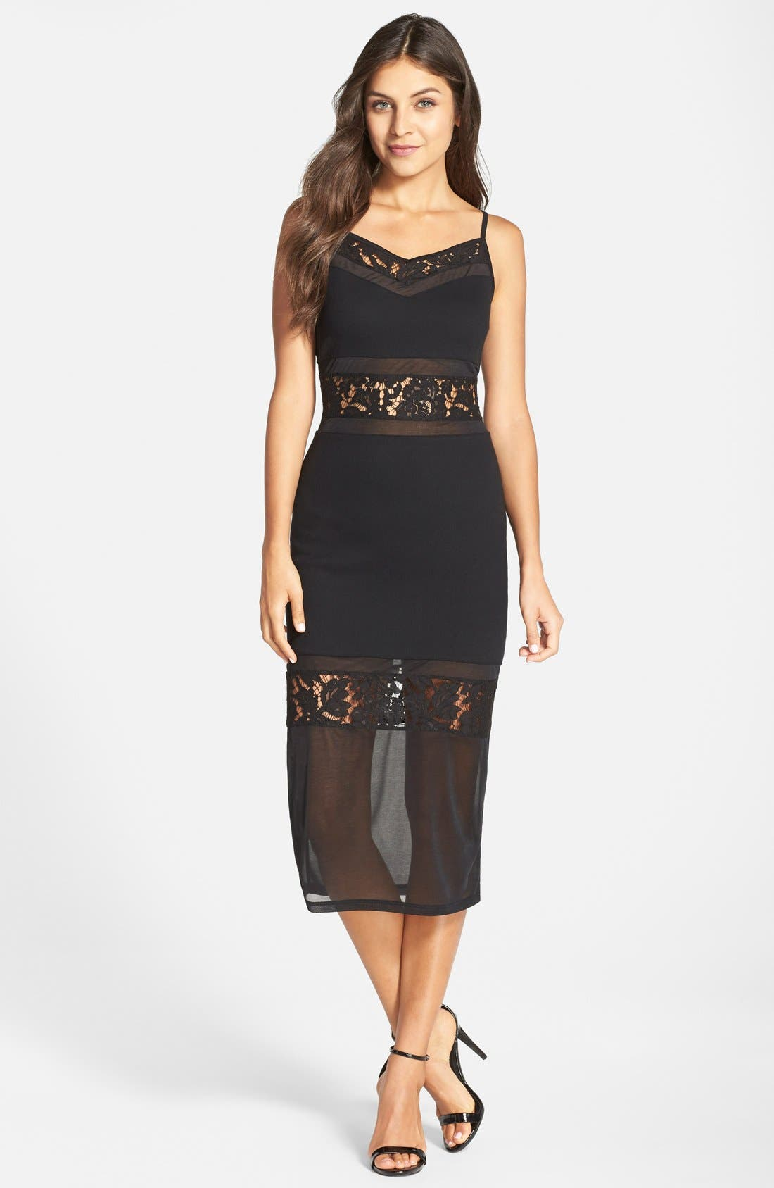 Main Image - French Connection 'Lucky Layer' Lace Inset Body-Con Midi Dress