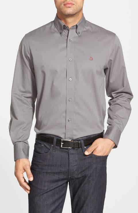 Nordstrom Men's Shop Smartcare™ Traditional Fit Twill Boat Shirt (Regular   Tall)