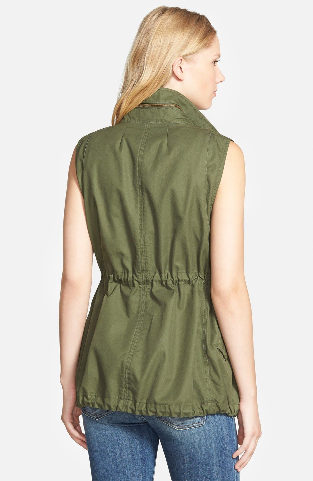 Alternate Image 3  - Pleione Cotton Twill Military Vest (Regular & Petite)