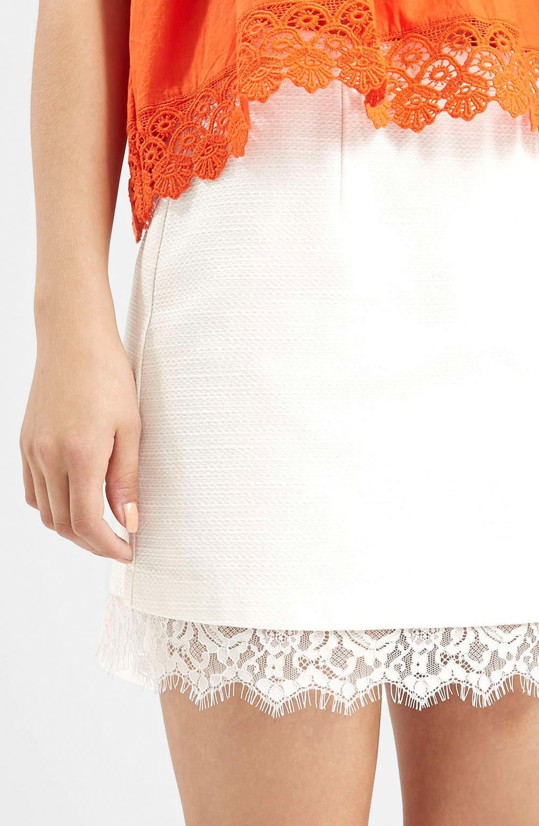 Alternate Image 4  - Topshop Textured Lace Hem Miniskirt