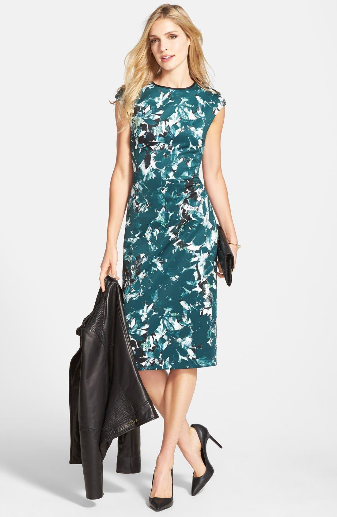 Alternate Image 6  - Maggy London 'Shadow Branch' Print Scuba Midi Dress (Regular & Petite)