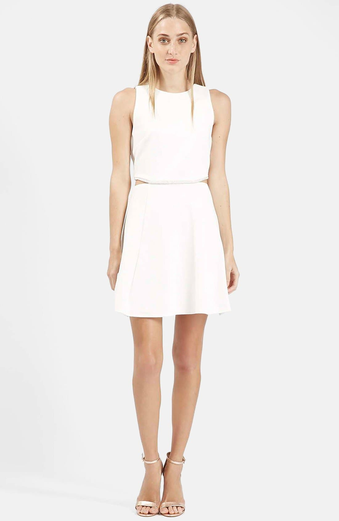 Alternate Image 1 Selected - Topshop Embellished Waist Fit & Flare Dress