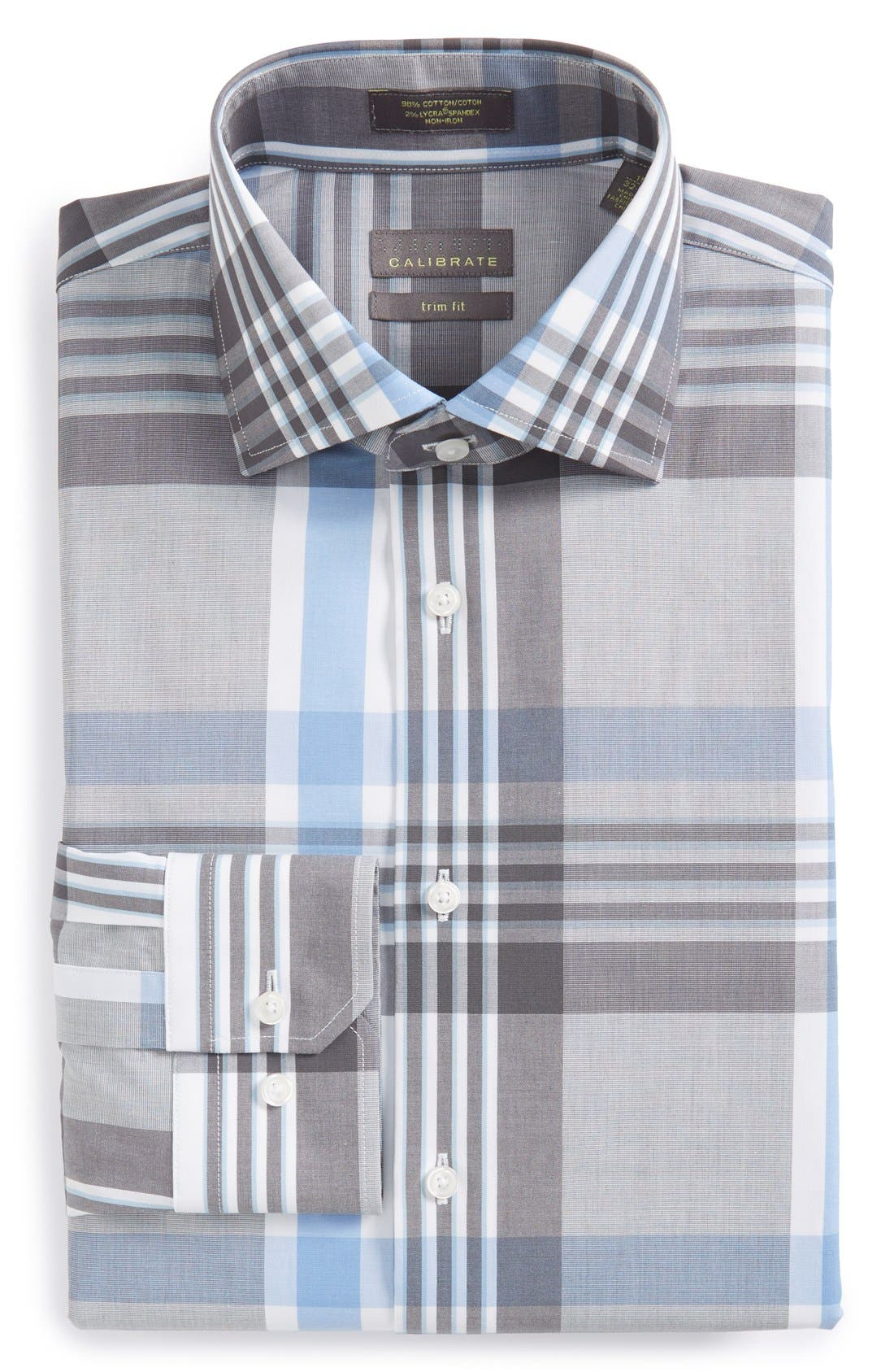 Alternate Image 1 Selected - Calibrate Trim Fit Non-Iron Plaid Dress Shirt