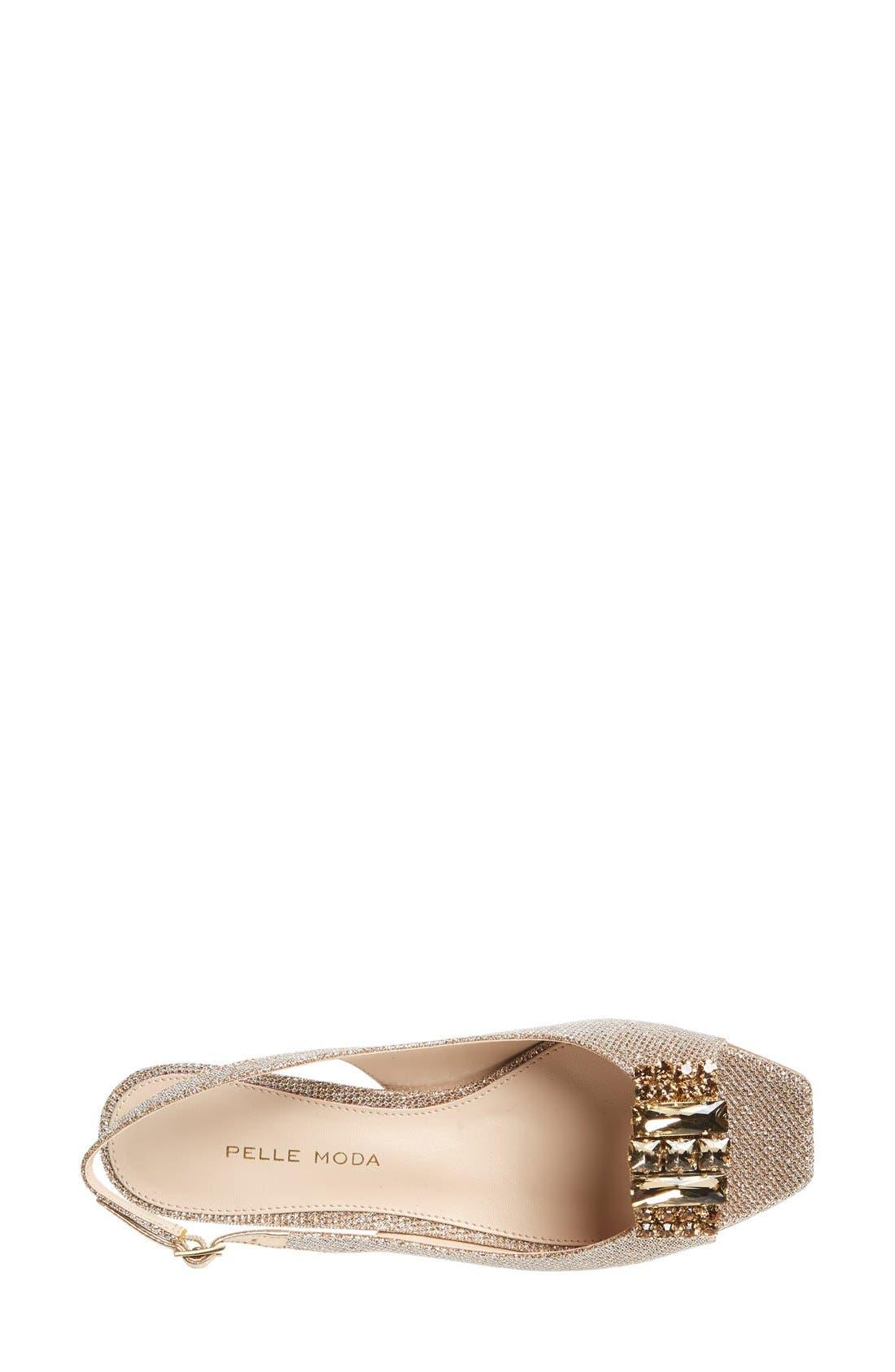 Alternate Image 3  - Pelle Moda 'Fresh' Jeweled Metallic Leather Slingback Sandal (Women)