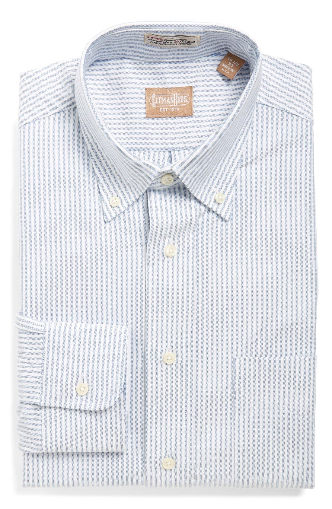 Gitman 'Cambridge Oxford' Regular Fit Stripe Dress Shirt
