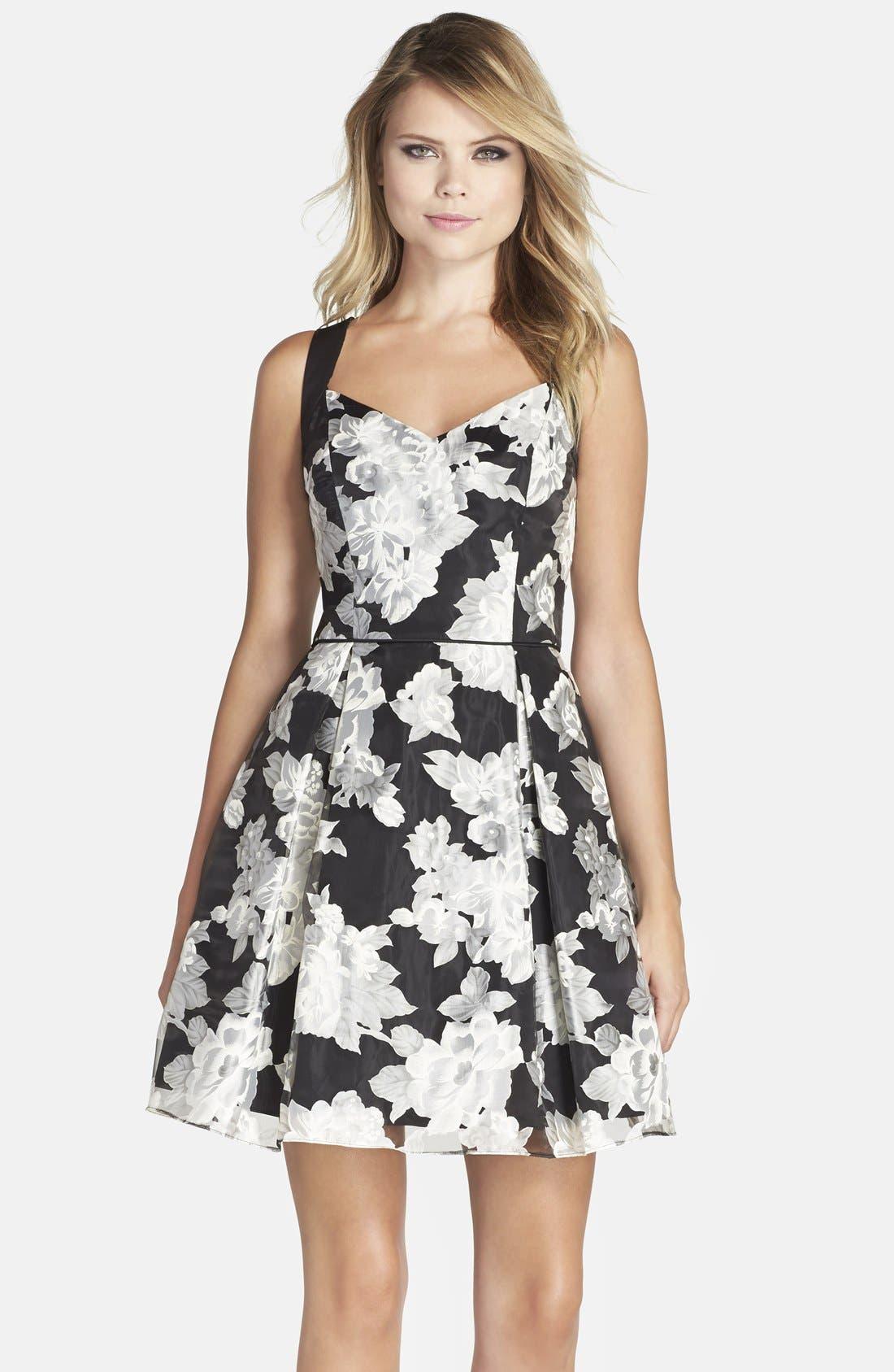 Alternate Image 1 Selected - Aidan by Aidan Mattox Floral Print Fit & Flare Dress