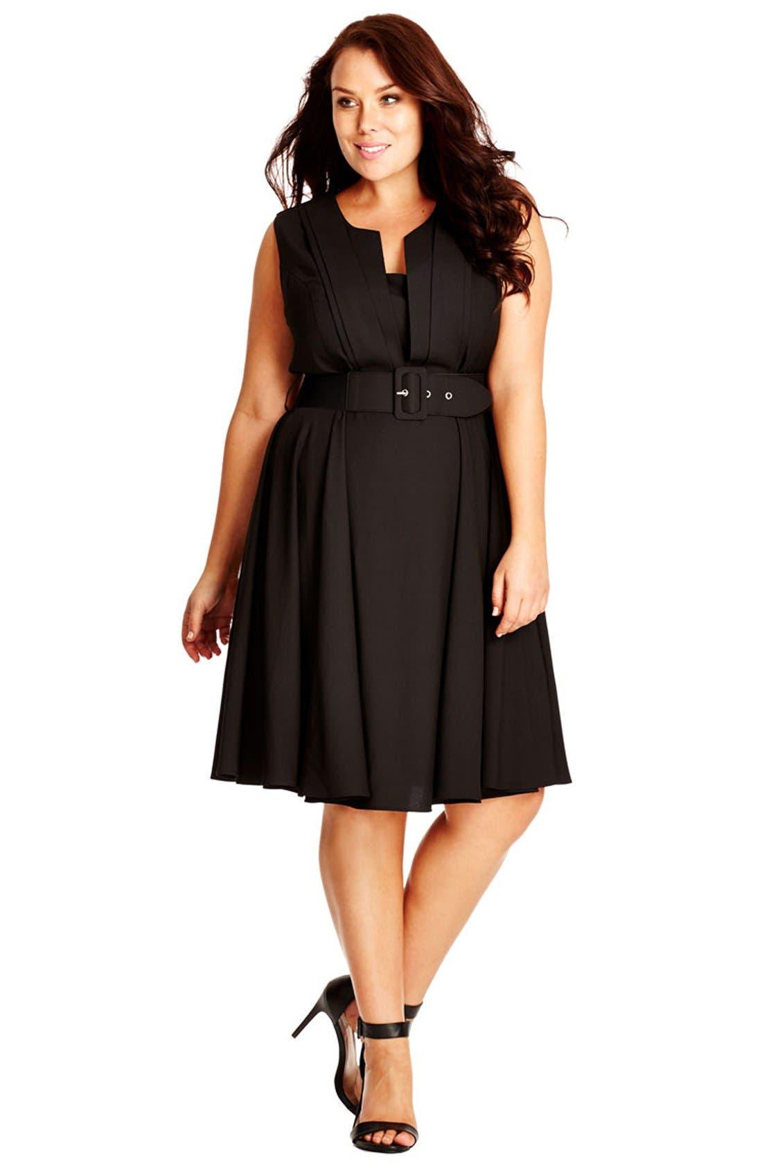 City Chic 'Vintage Veroni' Fit & Fare Dress (Plus Size)