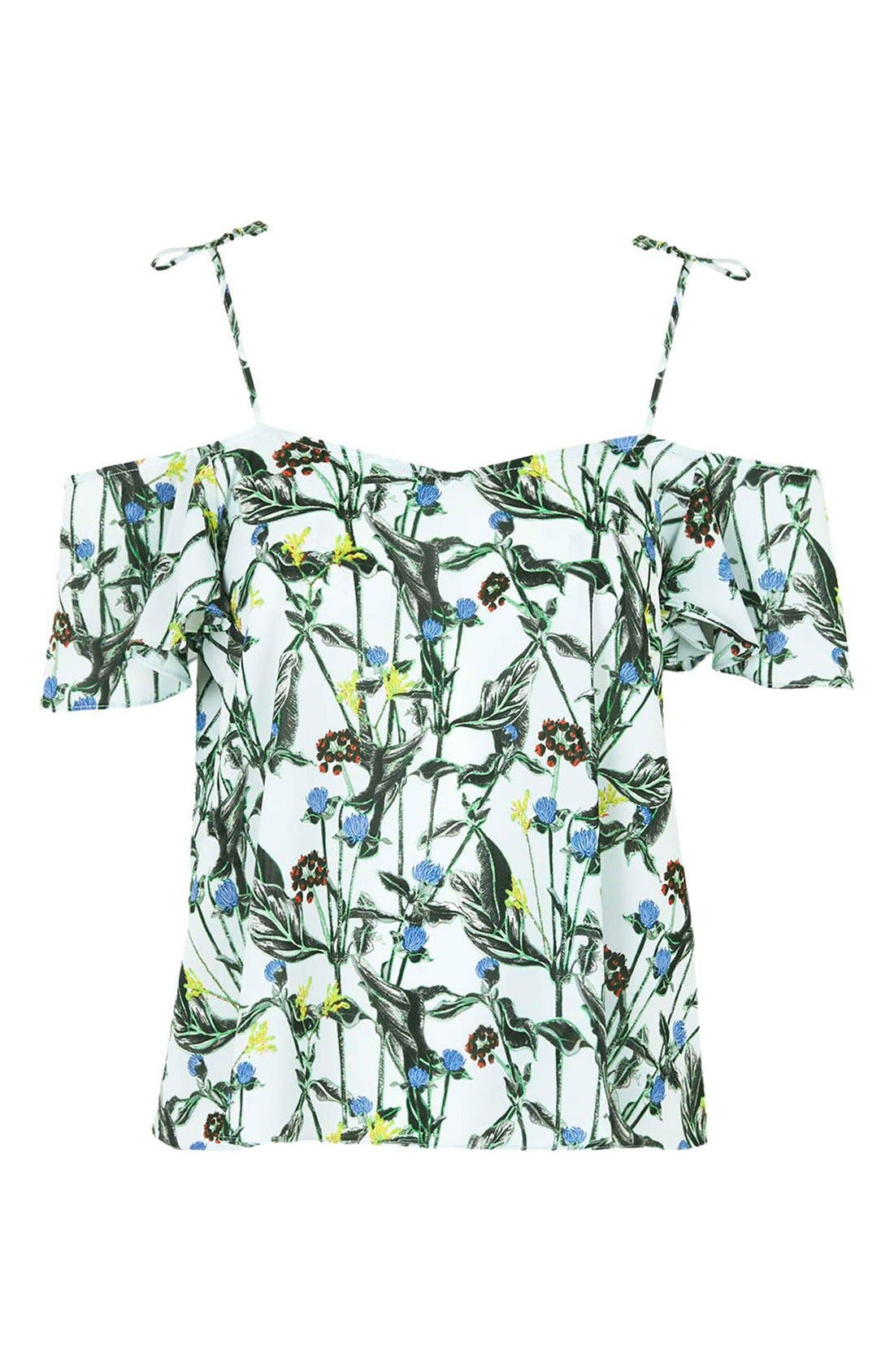 Alternate Image 3  - Topshop Wild Flower Print Bardot Top