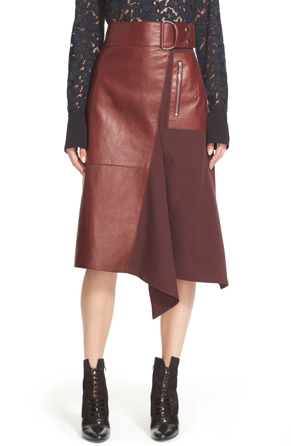 Alternate Image 1 Selected - 3.1 Phillip Lim Leather Contrast Asymmetrical Wool Twill Skirt