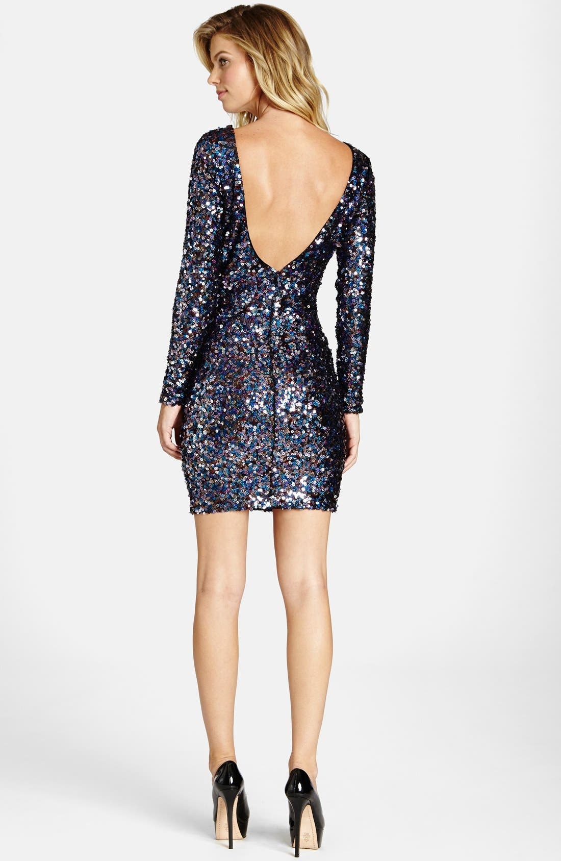 Alternate Image 2  - Dress the Population 'Lola City Lights' Backless Sequin Minidress
