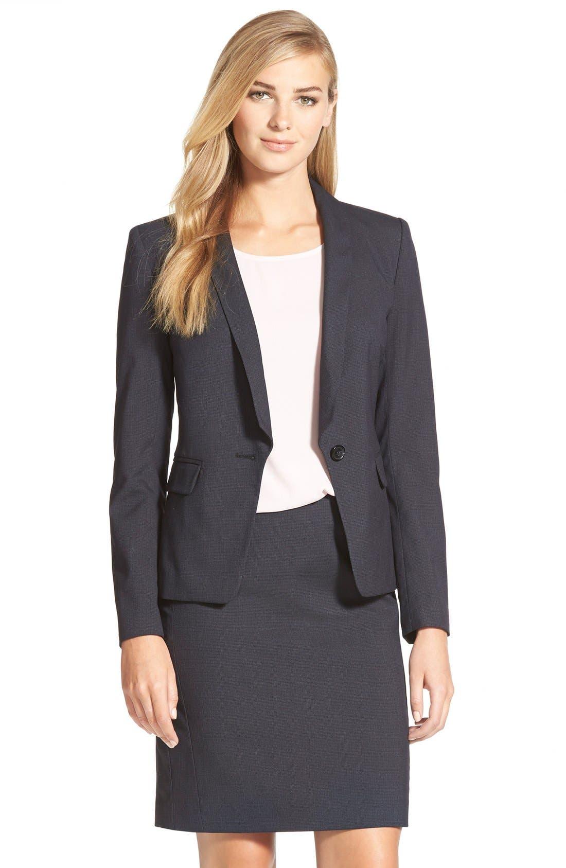 Alternate Image 1 Selected - Halogen® Crosshatch Suit Jacket (Regular & Petite)