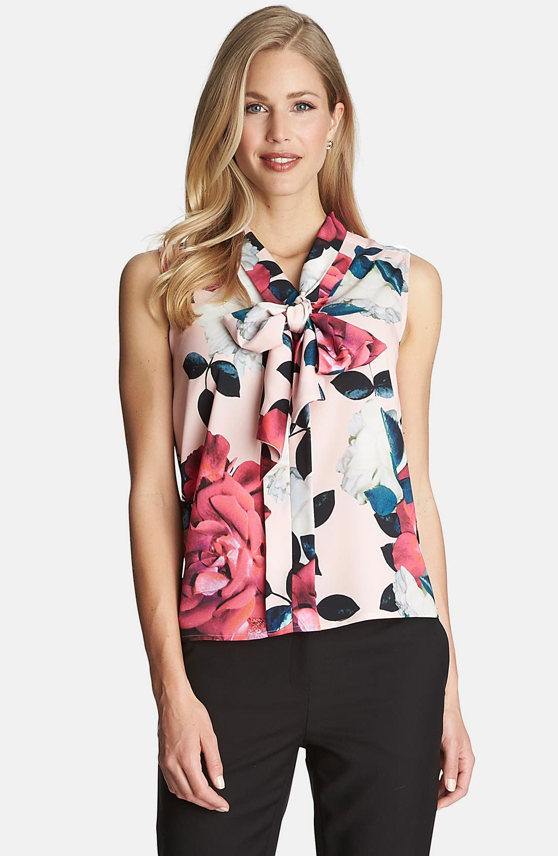 Main Image - CeCe by Cynthia Steffe 'Romantic Flower' Tie Neck Blouse