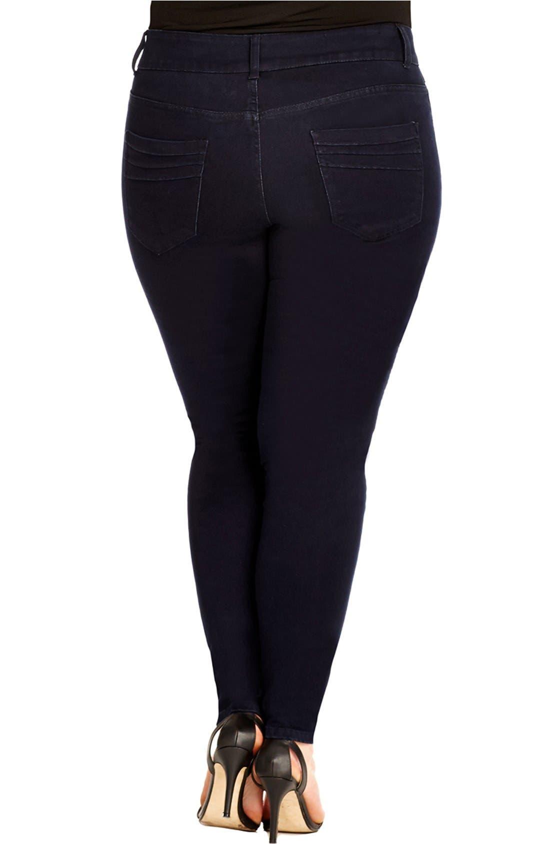 Alternate Image 2  - City Chic 'Moto' Stretch Skinny Jeans (Dark Denim) (Plus Size)