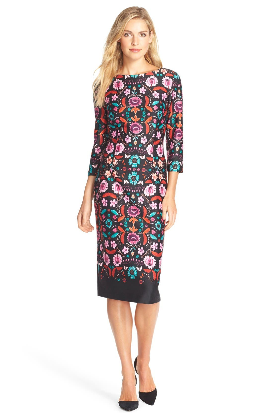 Alternate Image 4  - Eliza J Floral Print Ponte Sheath Dress (Regular & Petite)