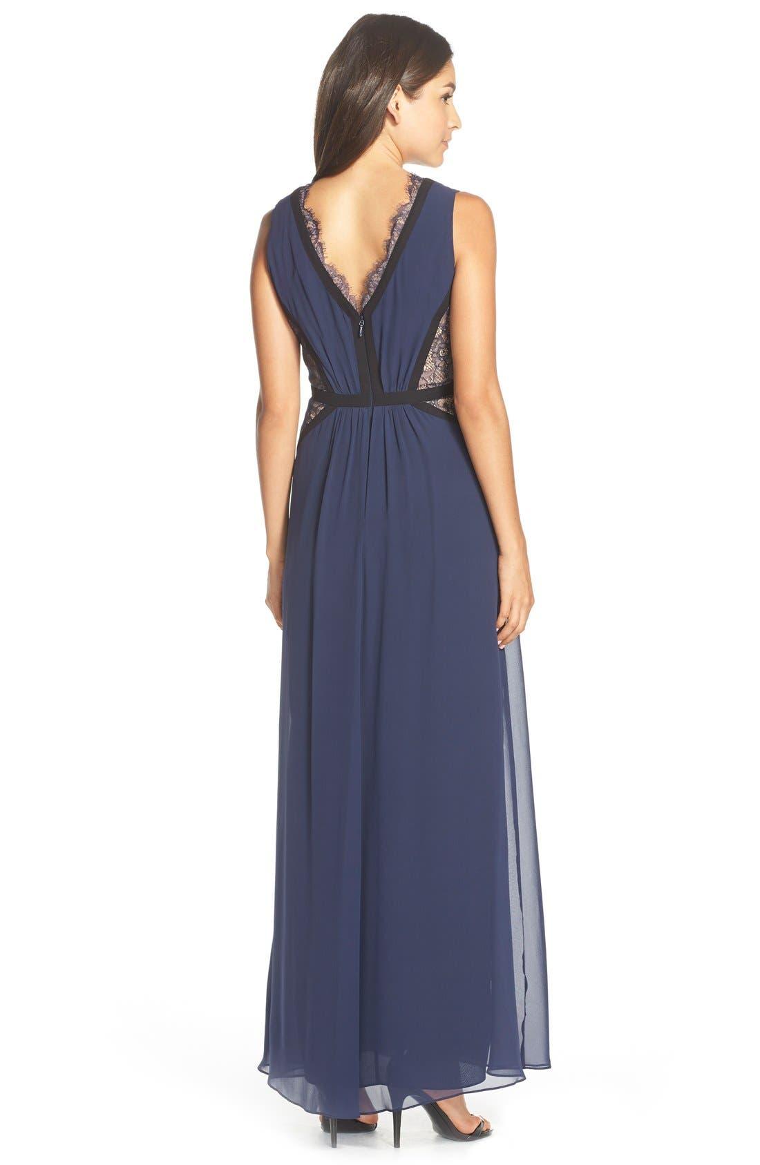 Alternate Image 2  - BCBGMAXAZRIA Lace Inset Silk Chiffon Gown