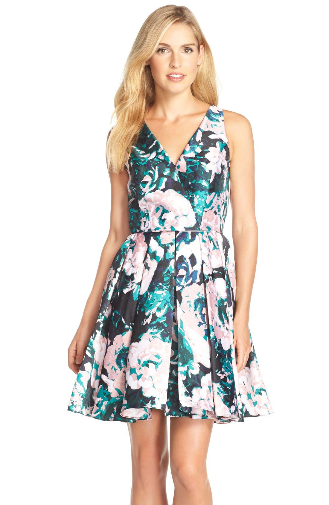 Alternate Image 1 Selected - Adrianna Papell Floral Print Mikado Fit & Flare Dress