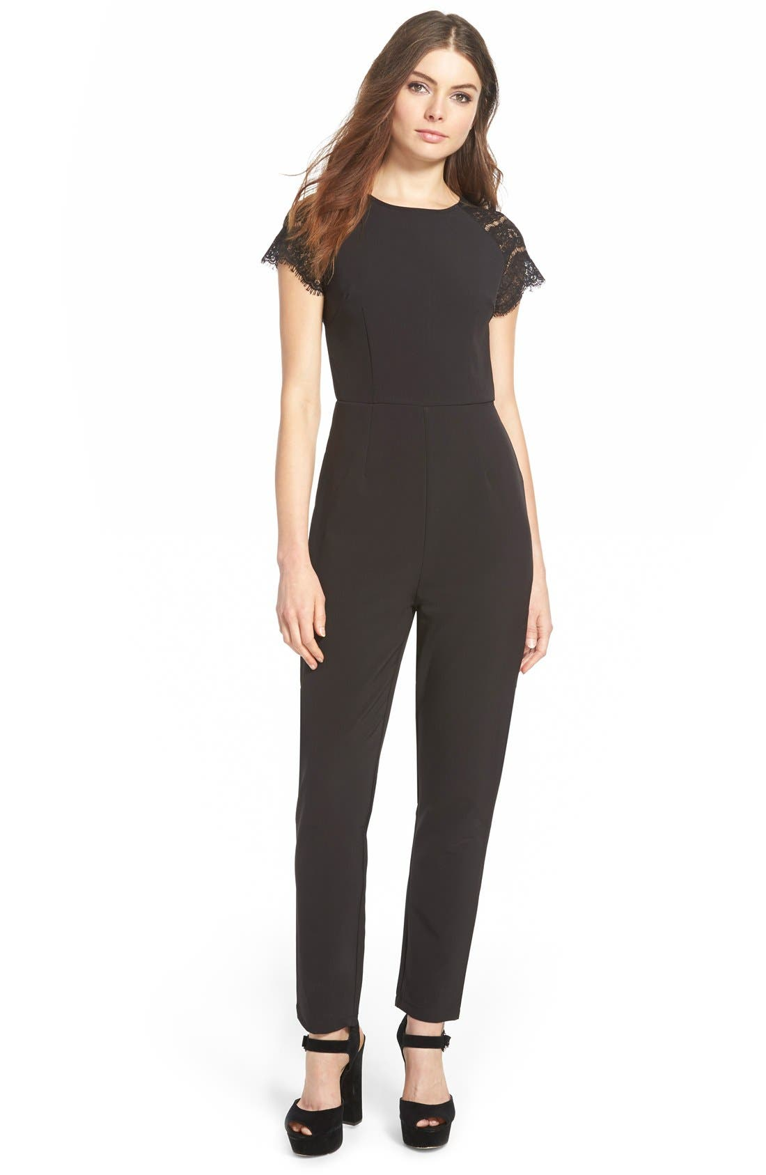 Alternate Image 1 Selected - Missguided Lace Sleeve Jumpsuit