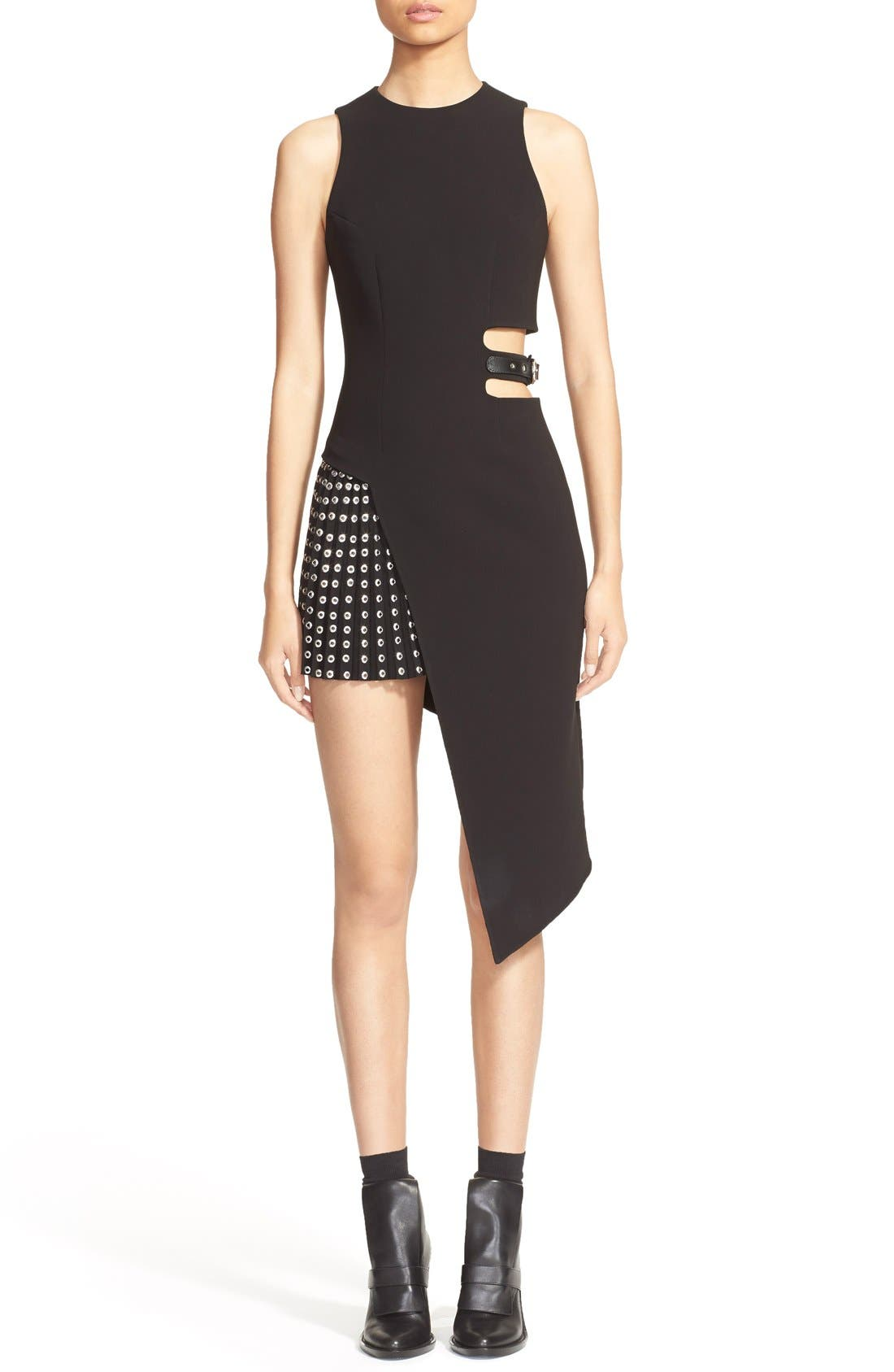 Main Image - Anthony Vaccarello Sleeveless Side Cutout Sheath with Grommet Pleated Panel