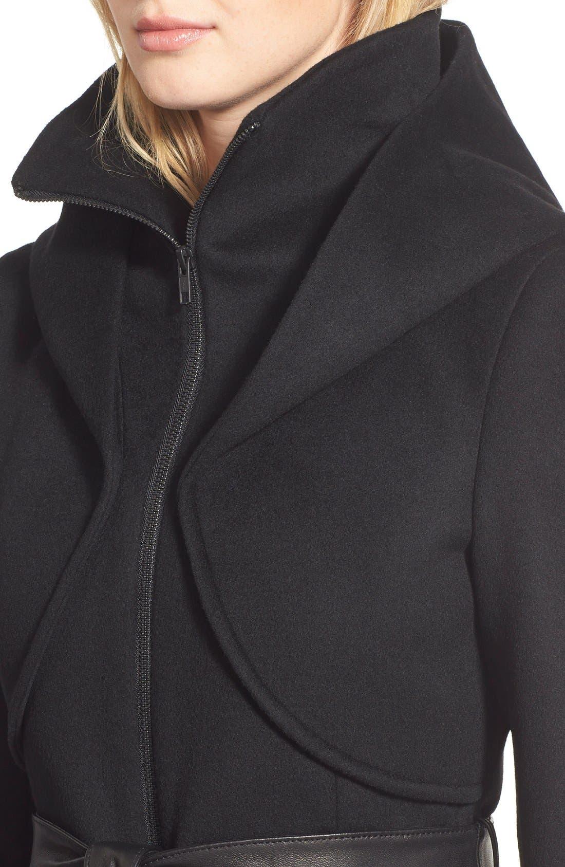 Alternate Image 3  - Soia & Kyo 'Arya' Hooded Wool Blend Coat with Belt