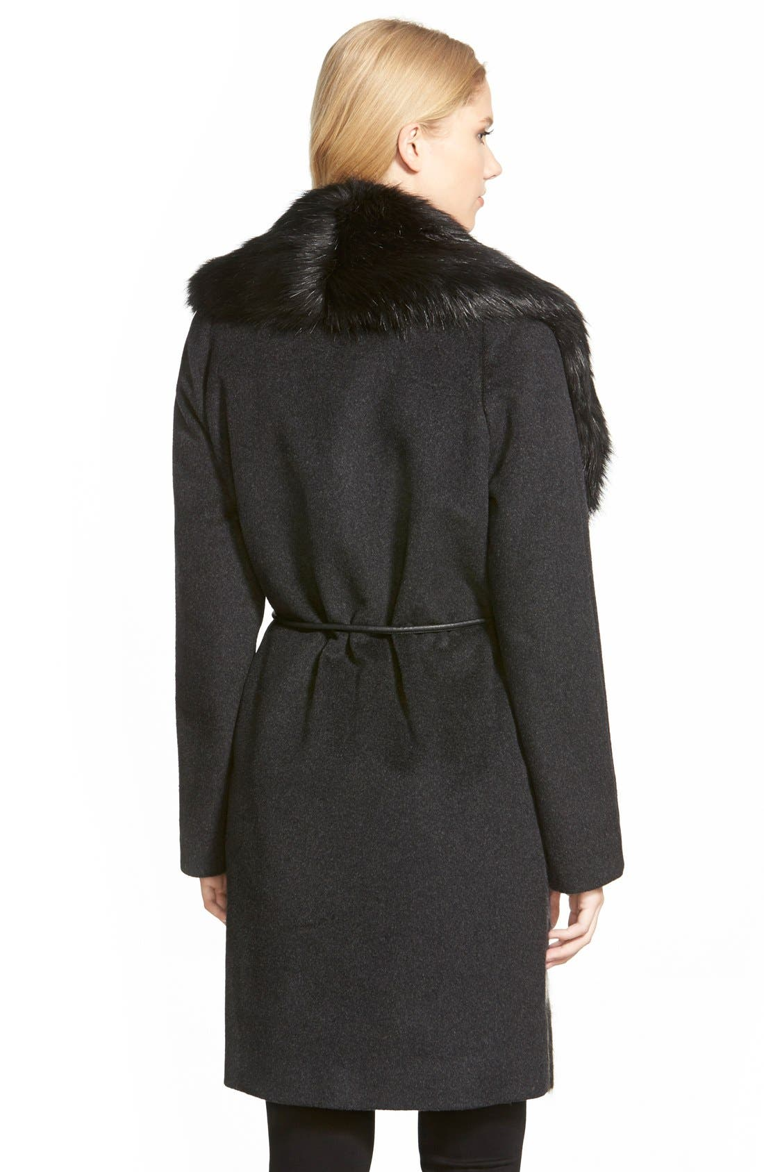Alternate Image 2  - Vera Wang 'Sophie' Faux Fur Collar Mixed Media Coat