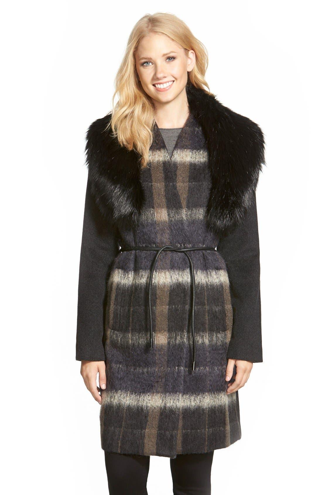 Main Image - Vera Wang 'Sophie' Faux Fur Collar Mixed Media Coat