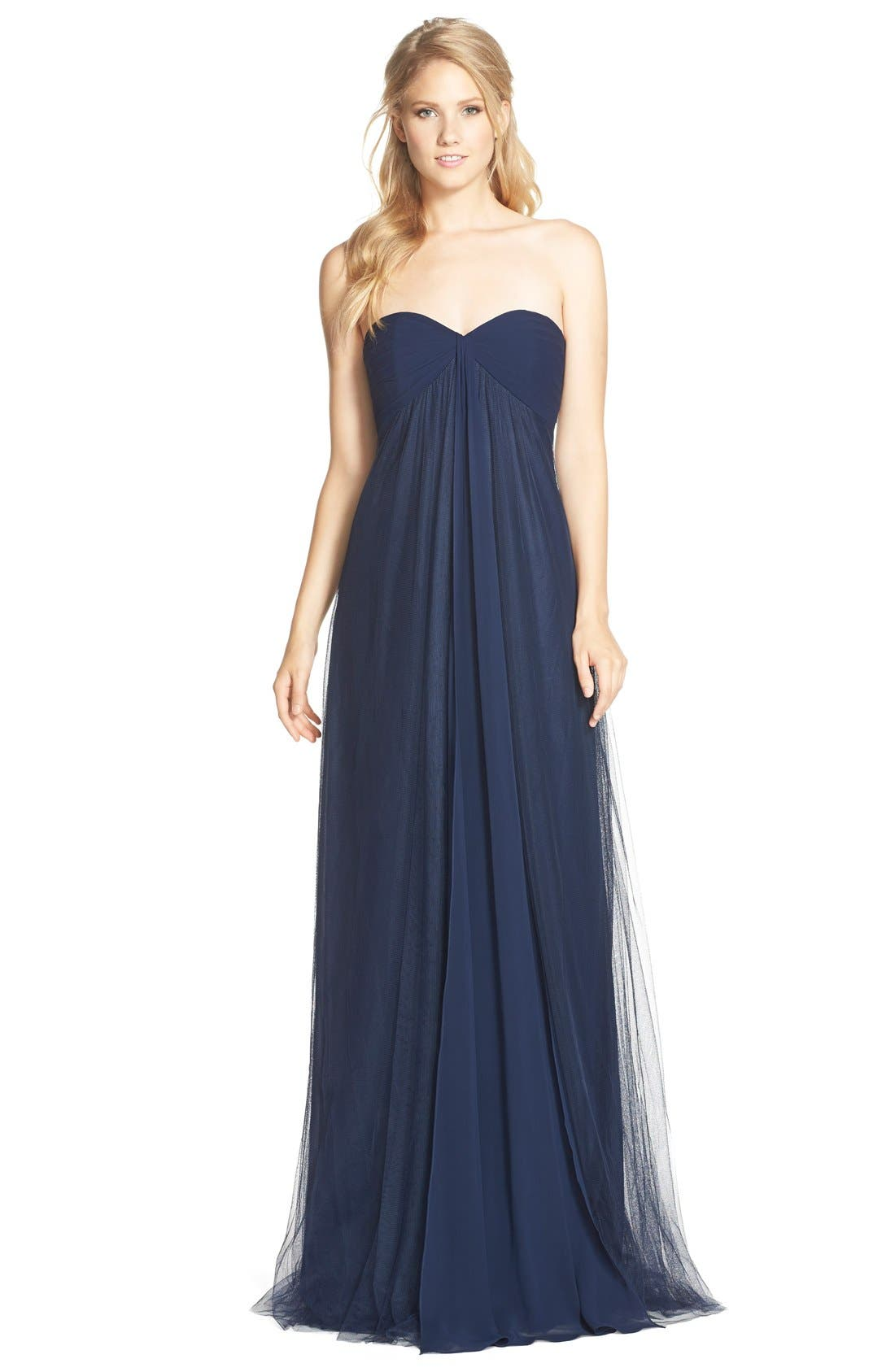 Alternate Image 1 Selected - Monique Lhuillier Bridesmaids Strapless Tulle & Chiffon Gown
