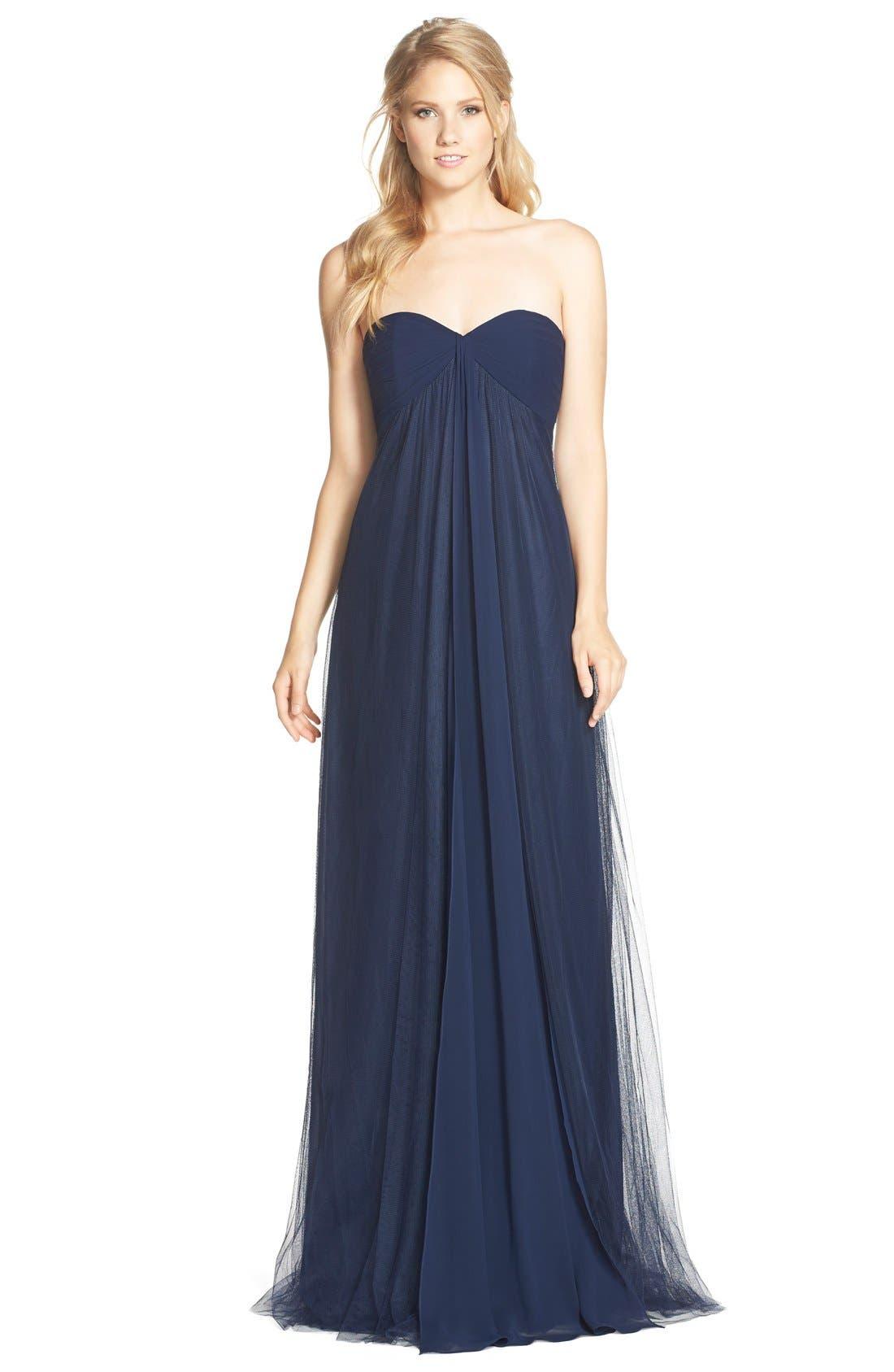 Main Image - Monique Lhuillier Bridesmaids Strapless Tulle & Chiffon Gown