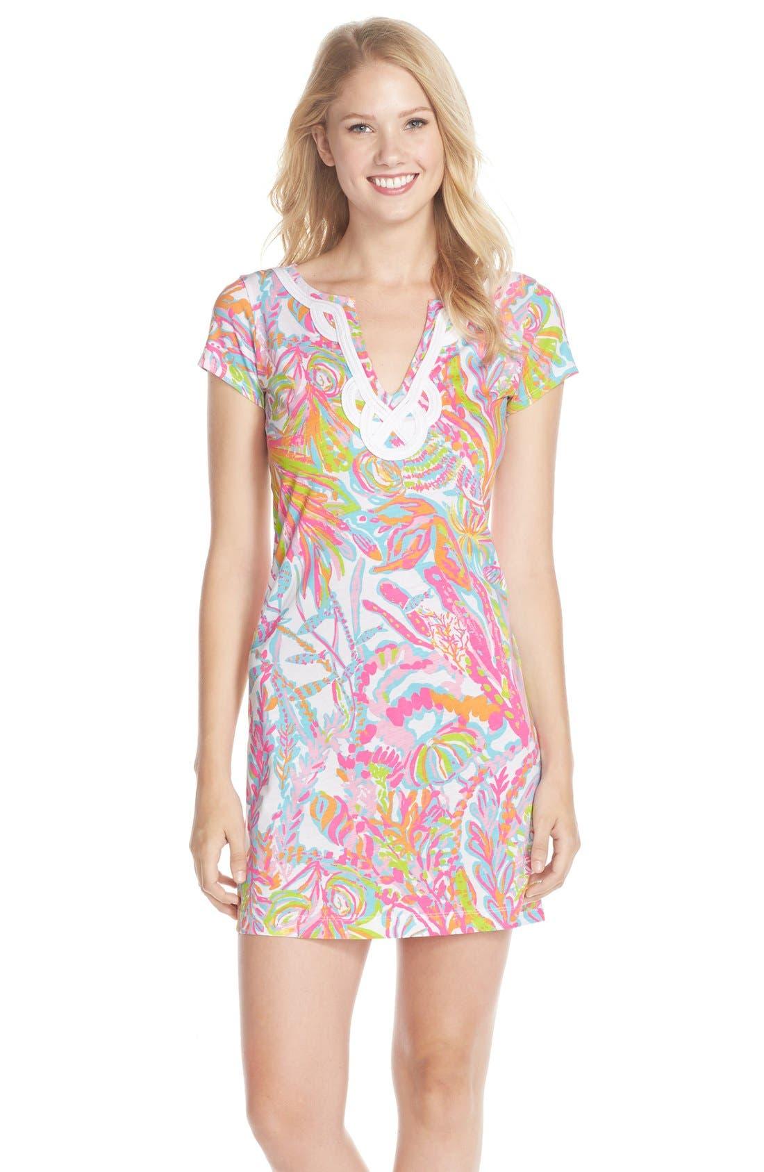 Main Image - Lilly Pulitzer® 'Brewster' Contrast Trim Print T-Shirt Dress