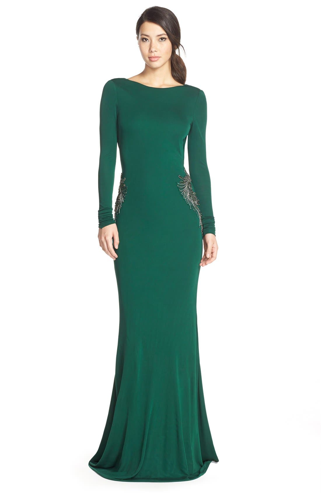 Alternate Image 1 Selected - Badgley Mischka Beaded Jersey Mermaid Gown
