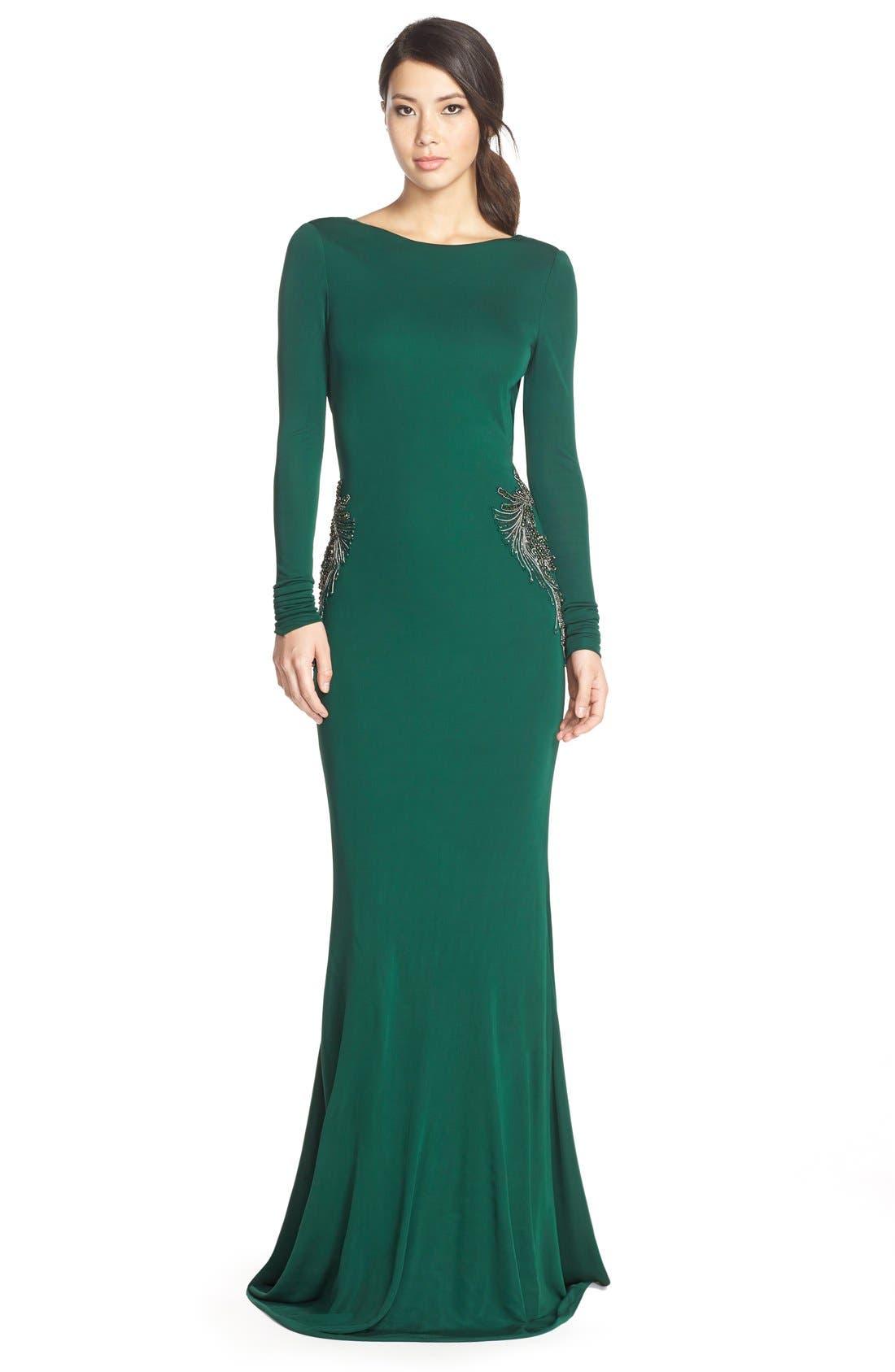 Main Image - Badgley Mischka Beaded Jersey Mermaid Gown