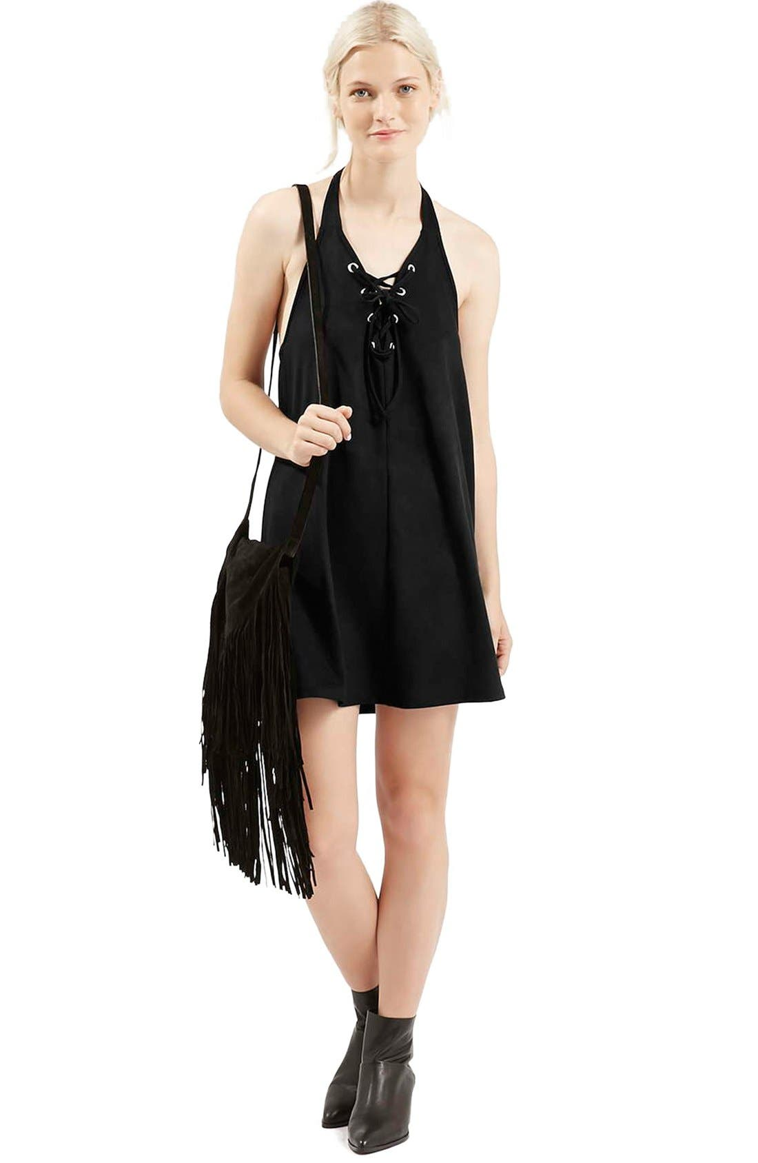 Main Image - Topshop Faux Suede Lace Up Halter Dress