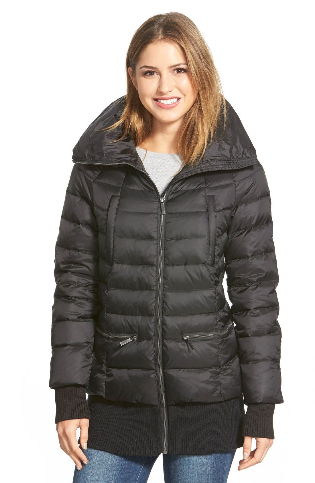 Main Image - French Connection Ribbed Trim Pillow Collar Down Jacket