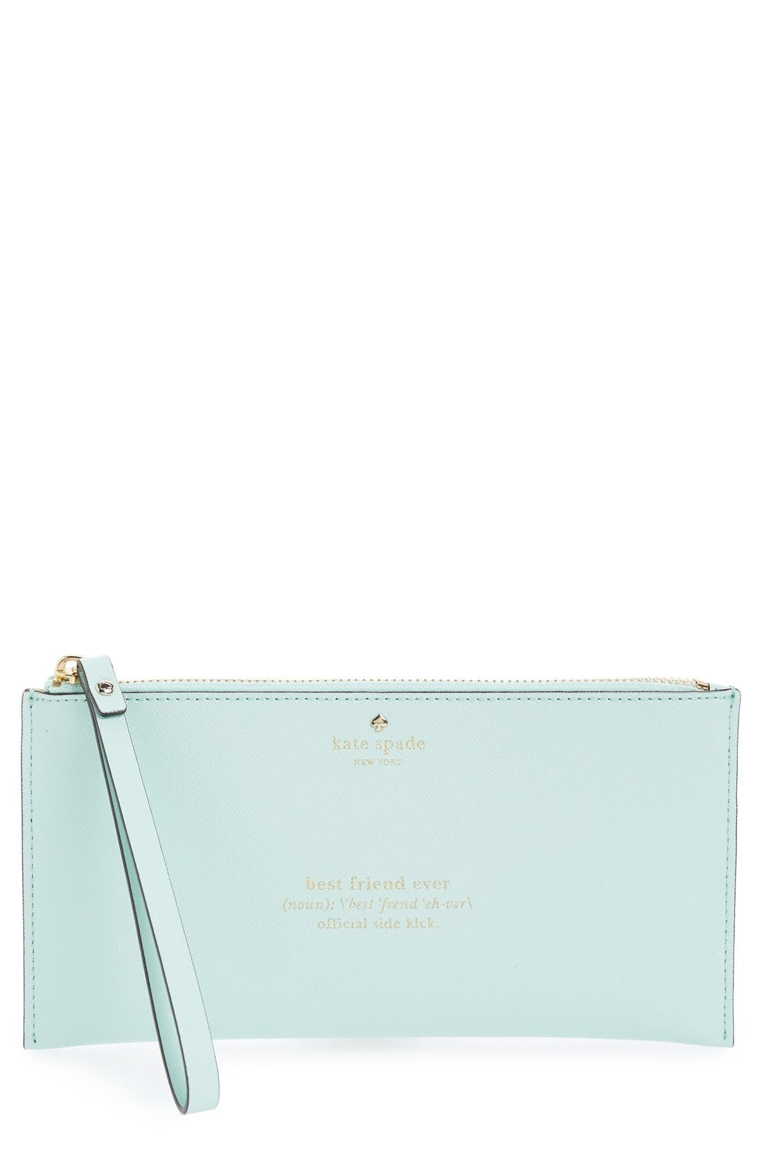 Main Image - kate spade new york 'wedding belles - adra' leather zip pouch