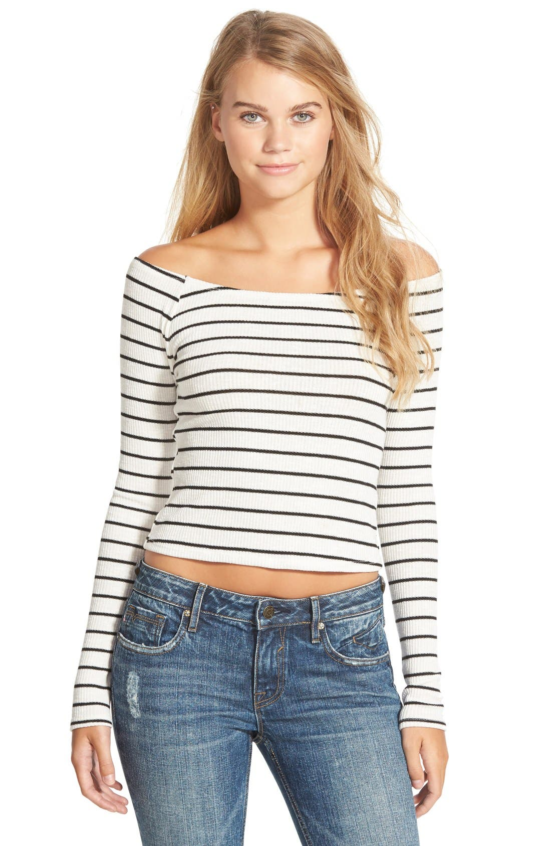 Main Image - Socialite Stripe Off the Shoulder Tee