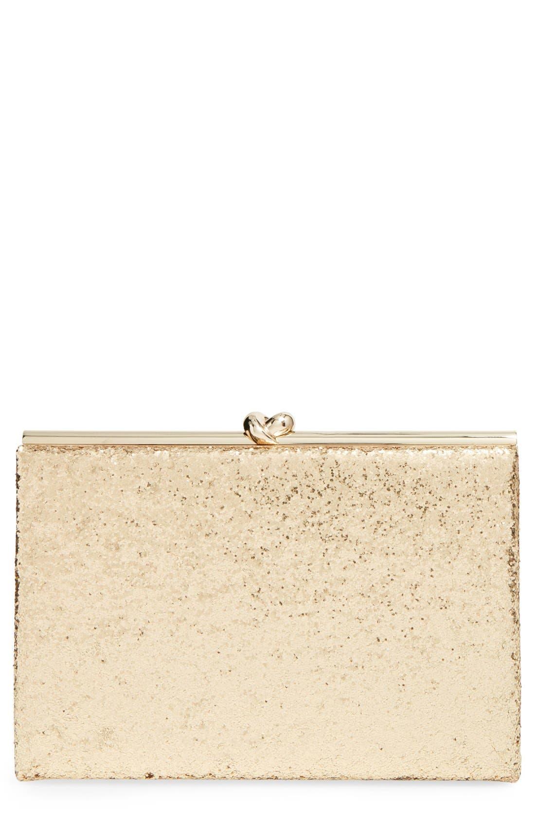 Alternate Image 1 Selected - kate spade new york 'wedding belles - gold knot' glitter box clutch