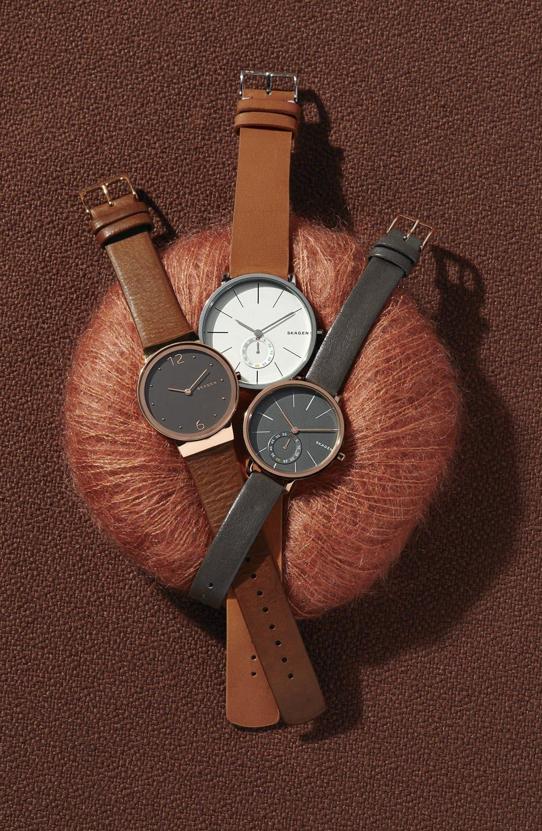 Alternate Image 3  - Skagen 'Hagen' Leather Strap Watch, 34mm